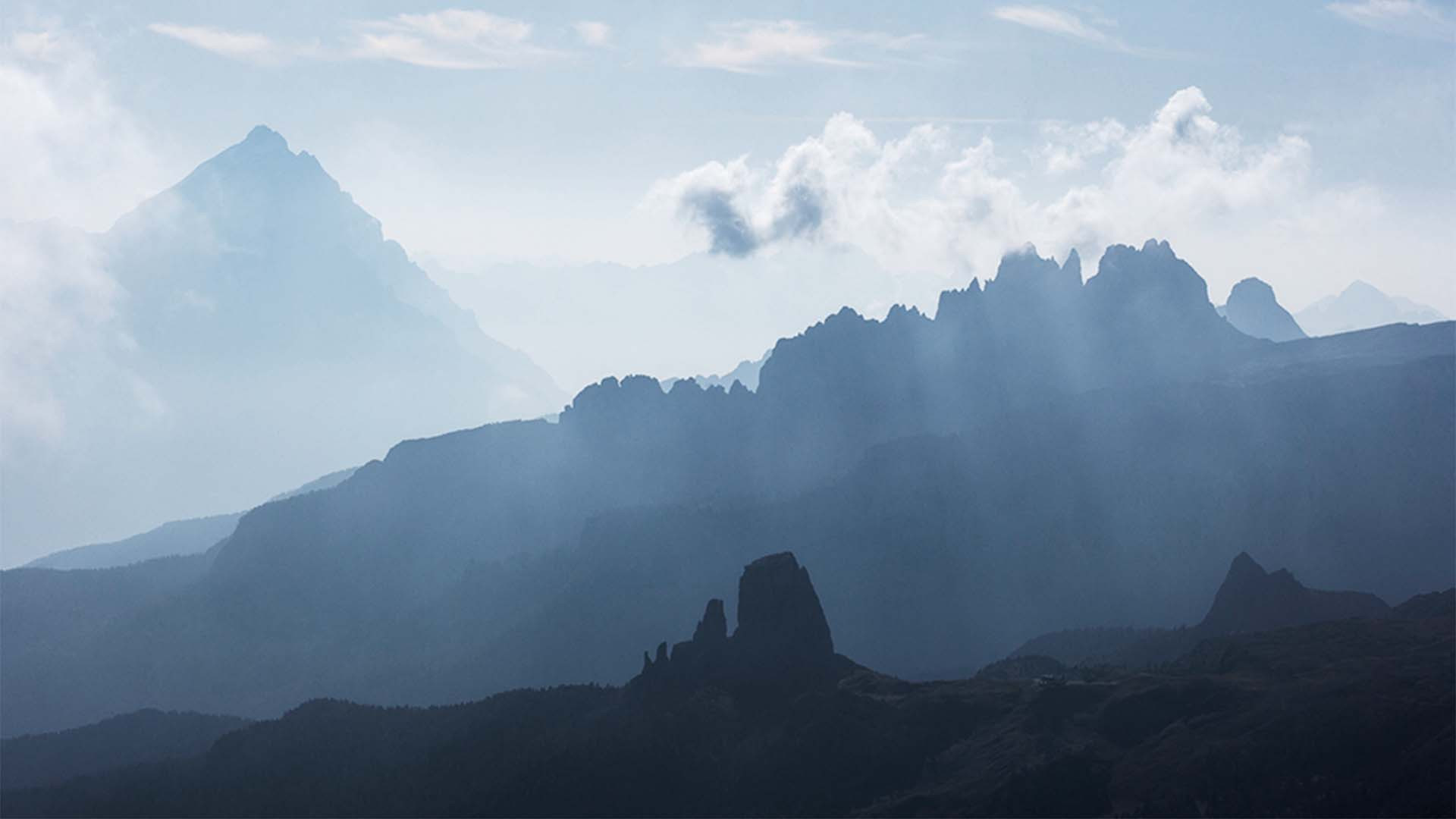 Silhouettes in the Dolomites, Italy