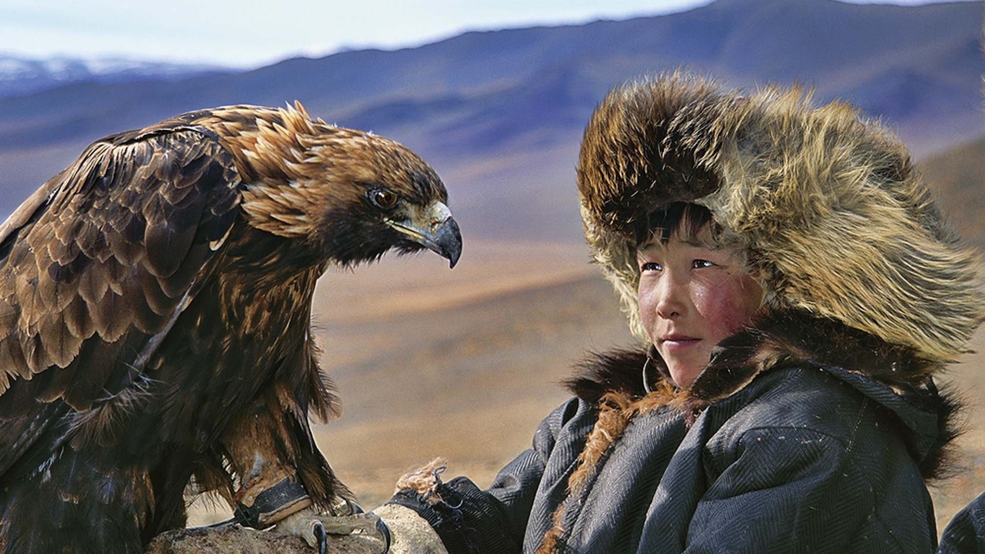 A Mongolian child with a golden eagle