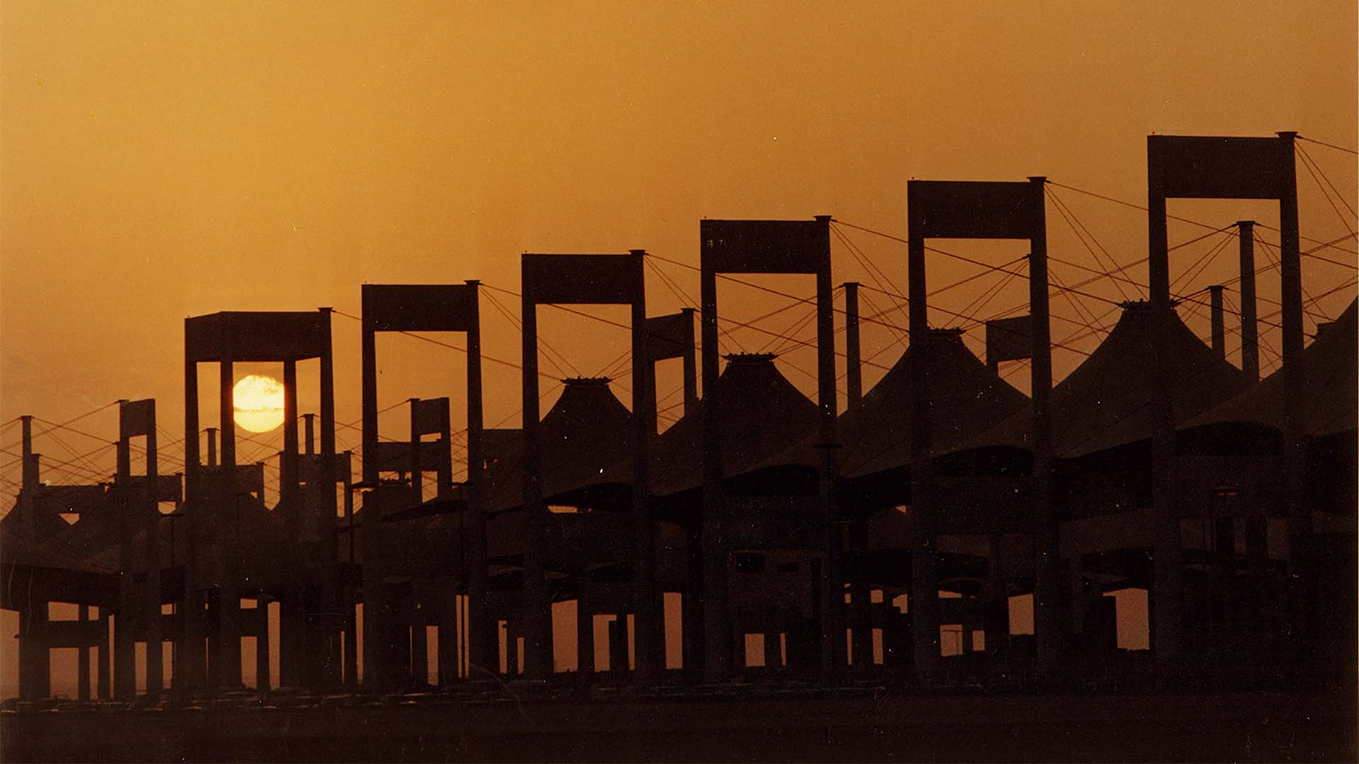 Hajj terminal at Jeddah airport as the sun sets