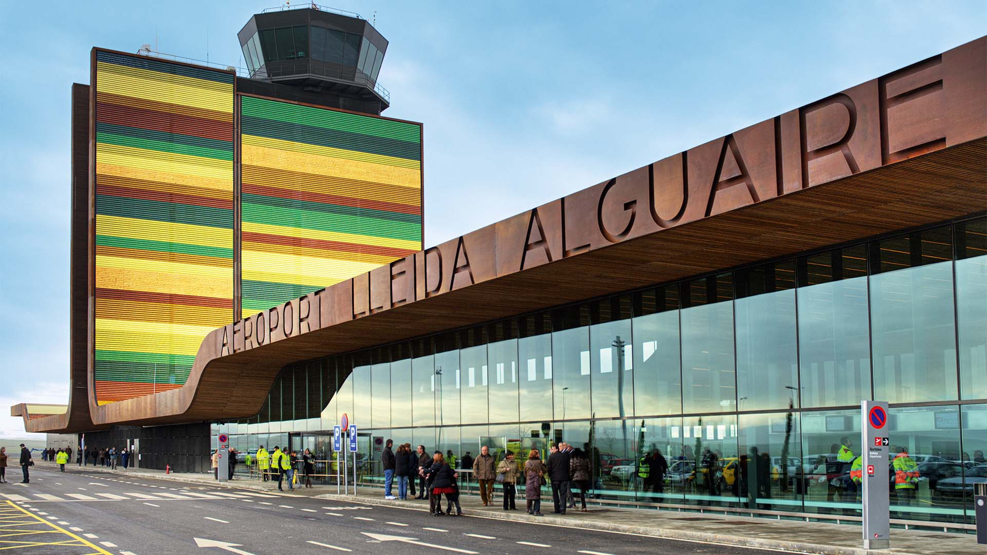 The colourful exterior of Lleida airport, Catalonia, Spain