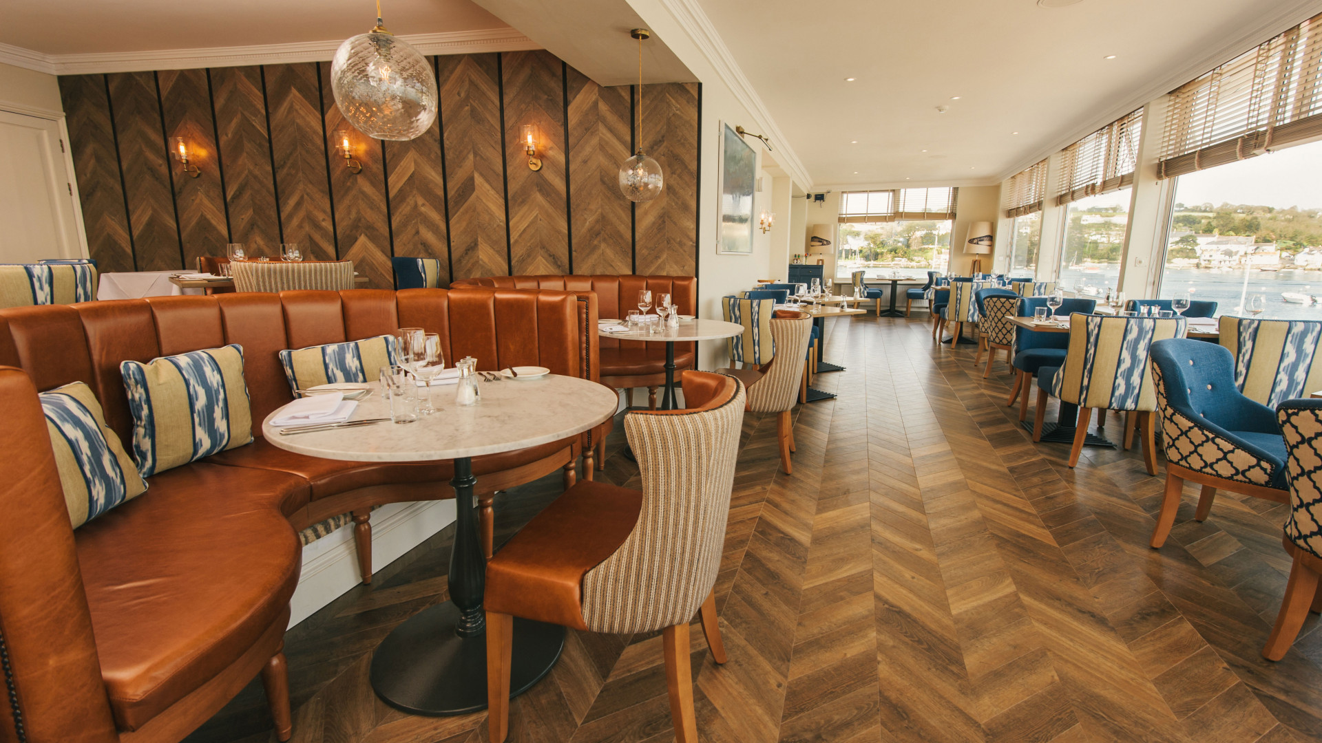 The restaurant at The Greenbank Hotel, Cornwall