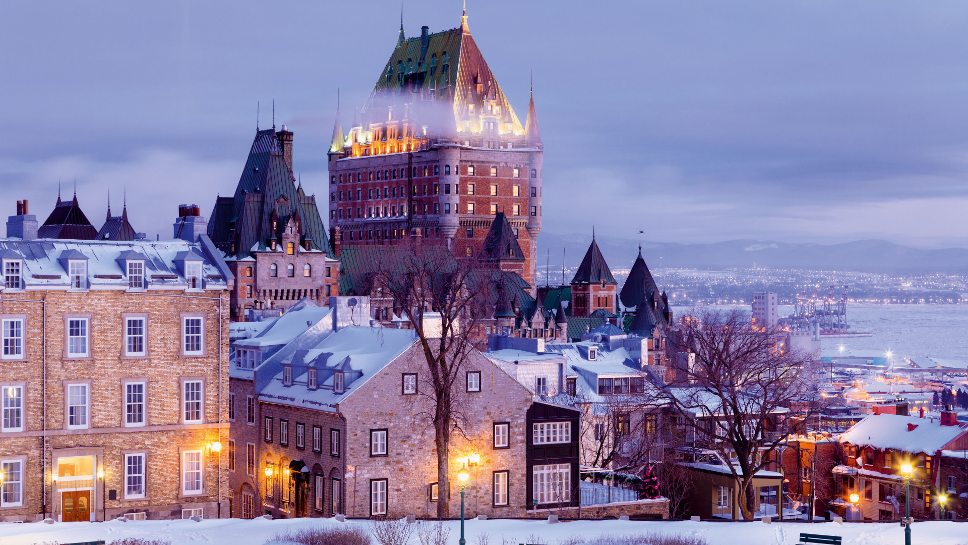 Snow-covered view of Quebec City, Canada