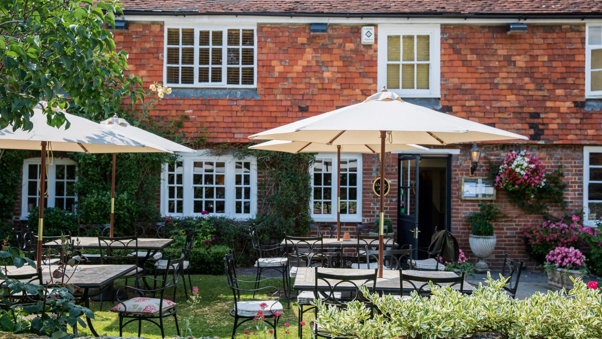 Sunny pub beer garden in Sussex, southeast England