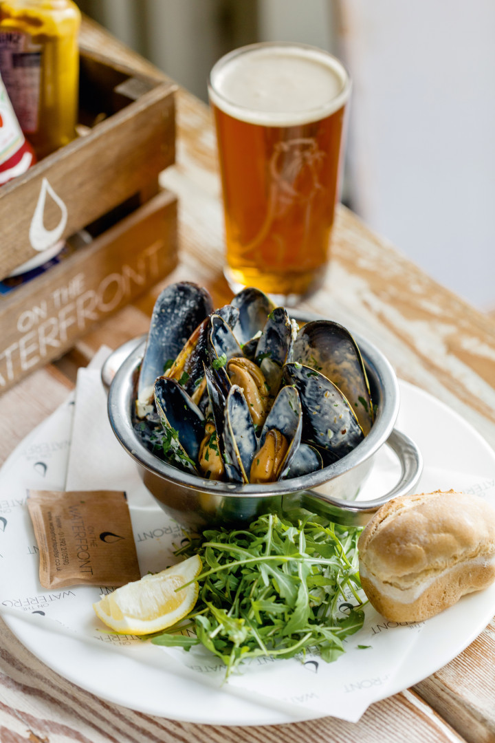 Moules frites and a pint of beer on the waterfront in Exeter