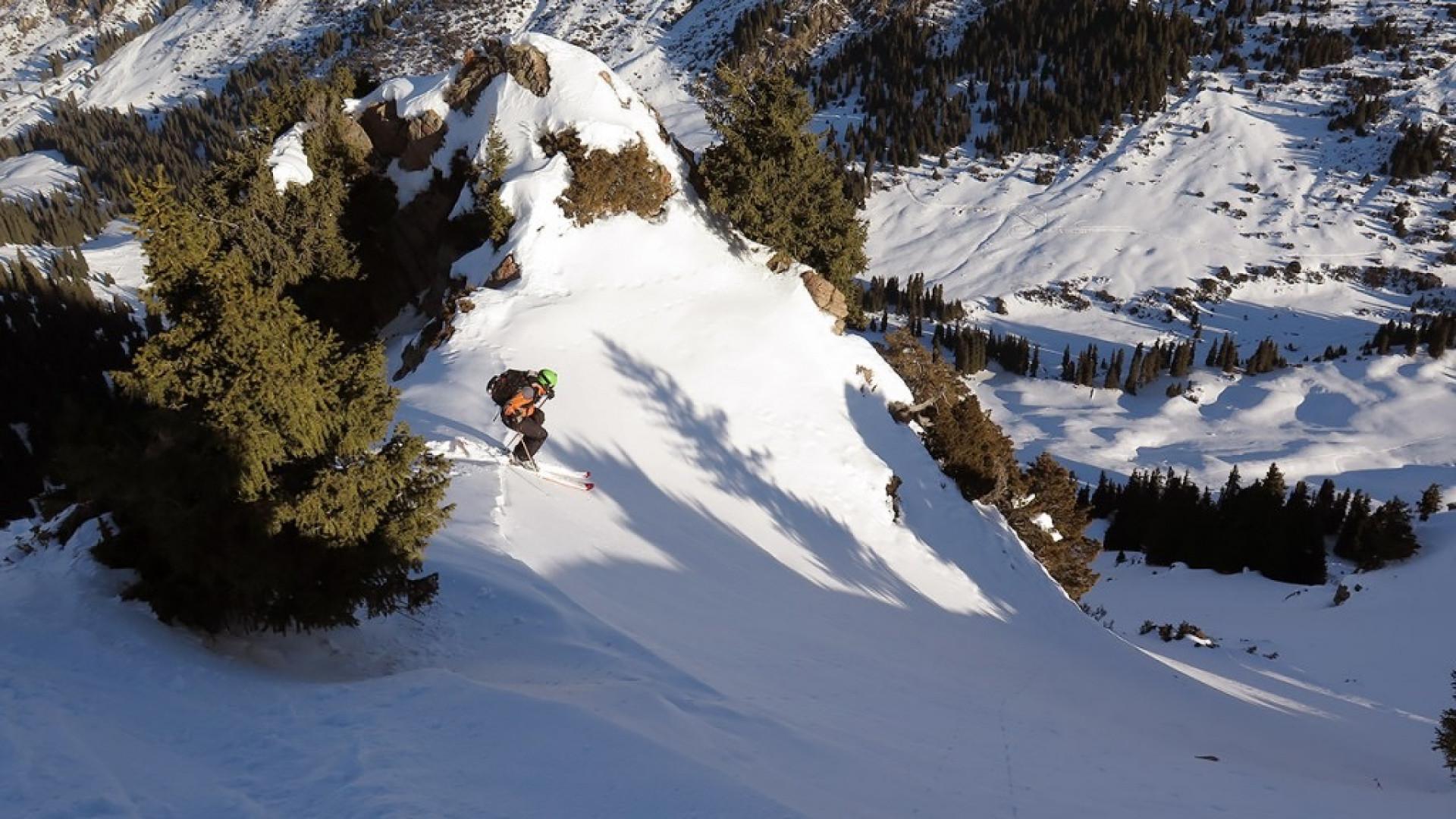 Crosscountry skiier in Kyrgyzstan