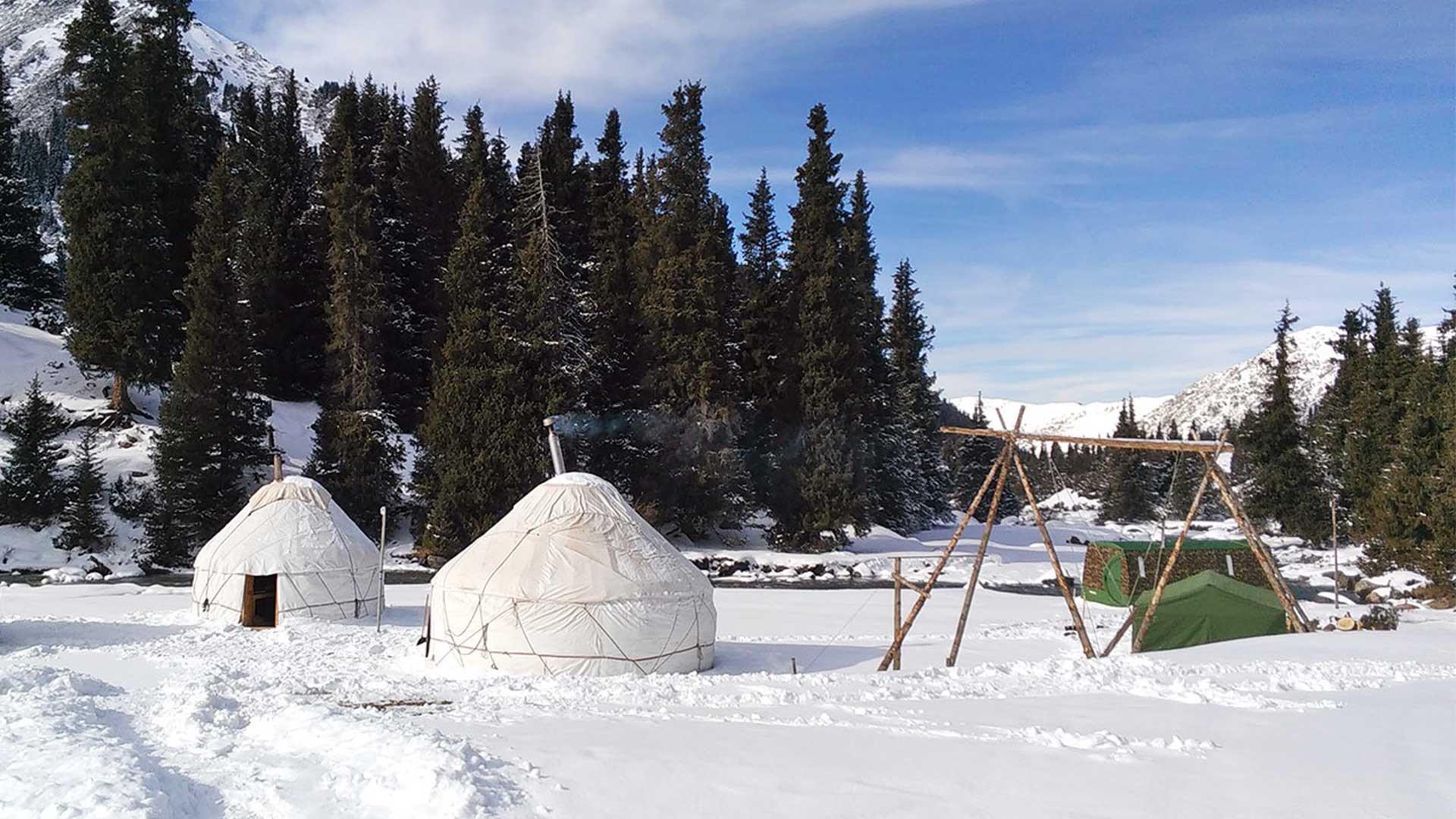 Camp of yurts in Kyrgyzstan snow resort