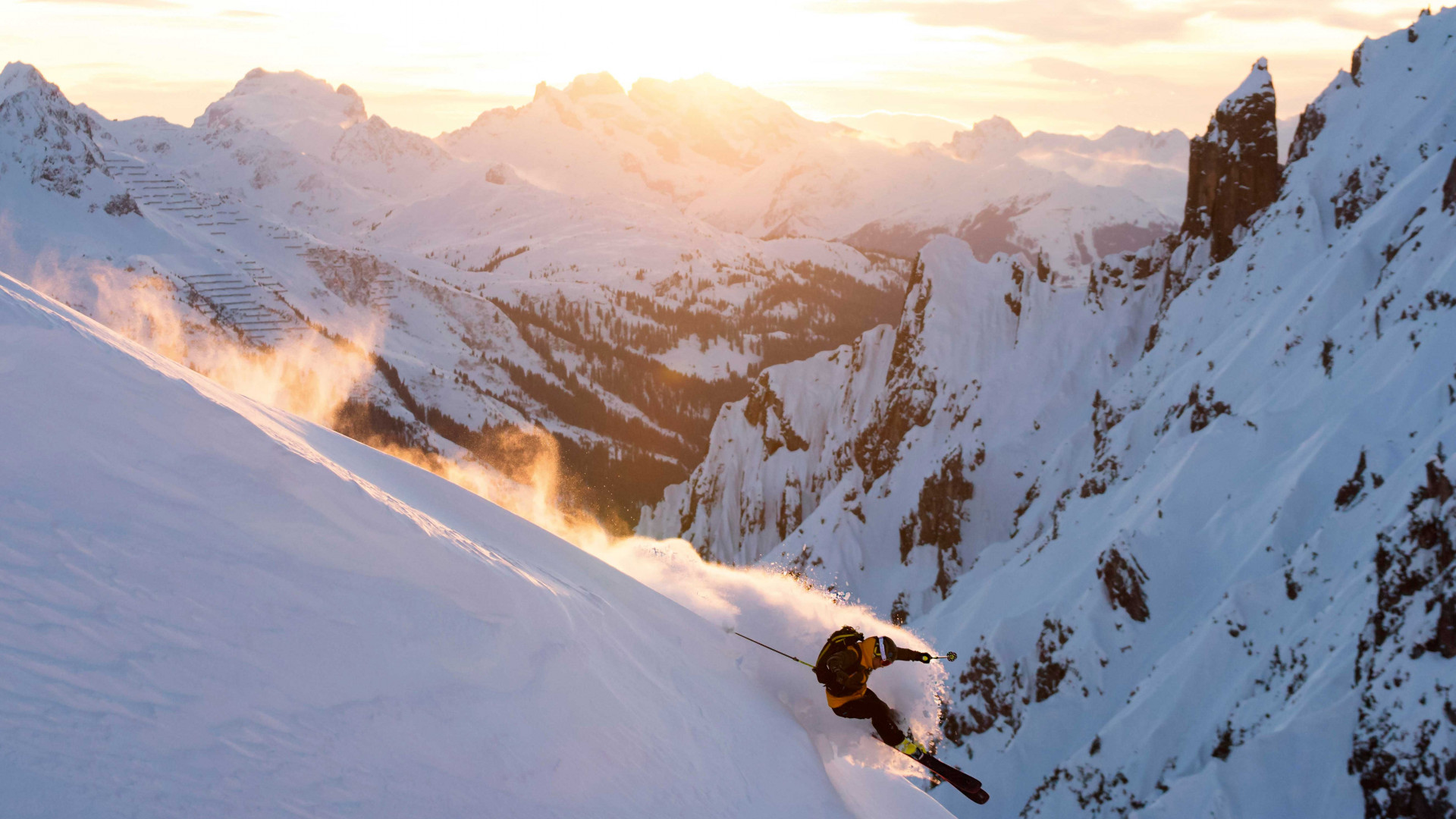 Off piste skiier in Arlberg, Austria
