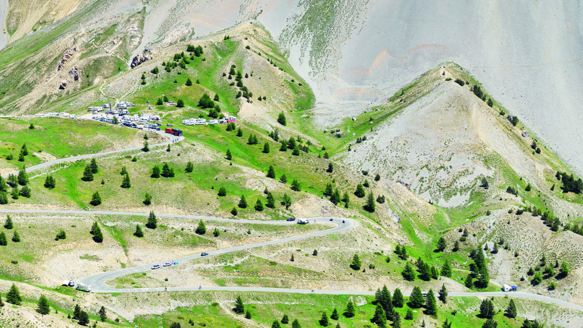 Huge mountainside pass in France, a popular location for cyclists