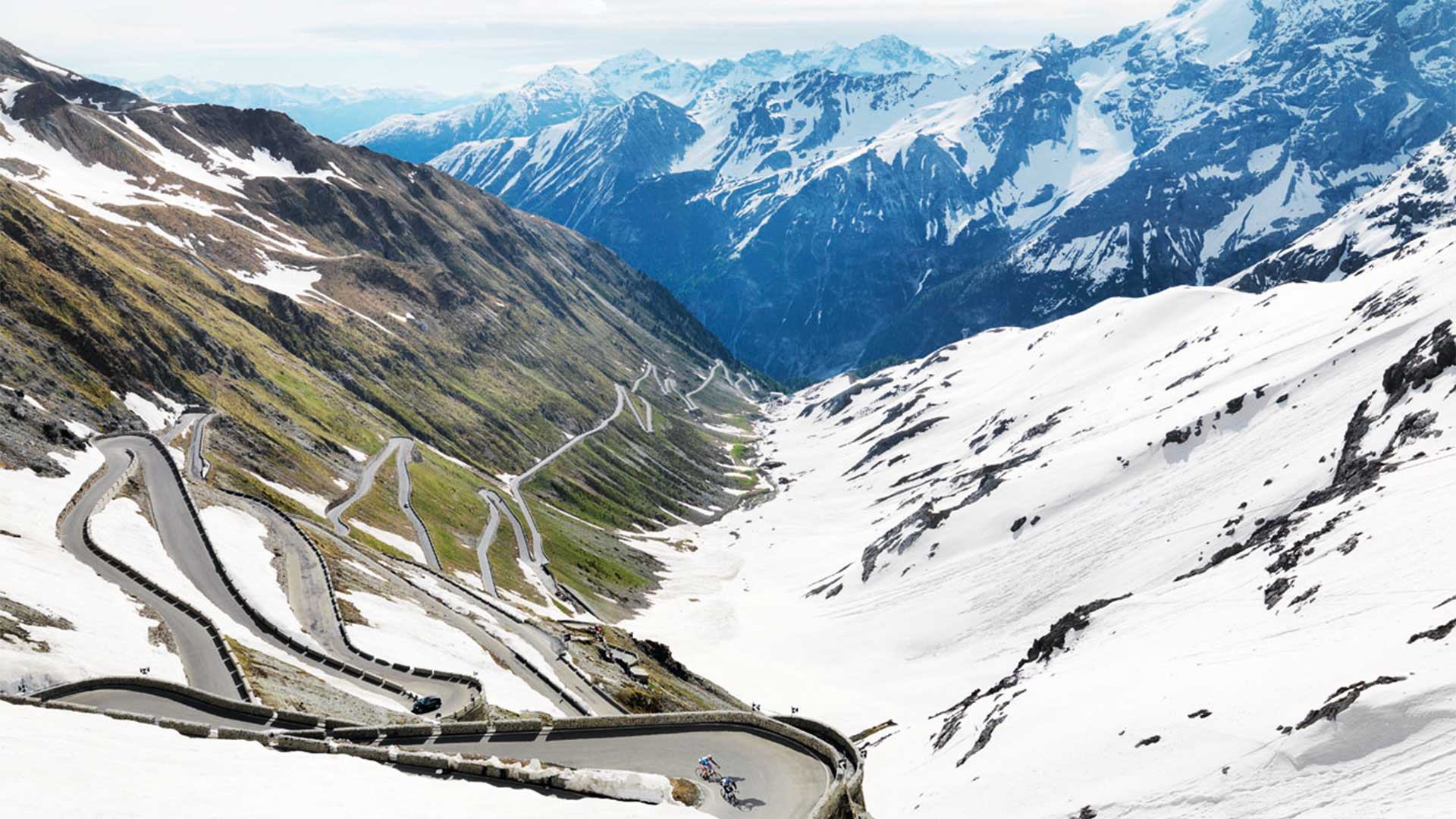 Hairpins bends on a cycle mountain pass in Italy