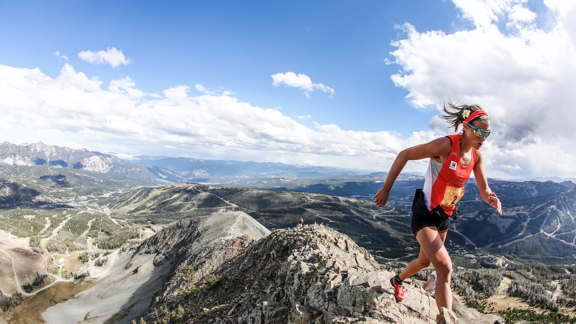 Runner at the top of Run the Rut race in Montana, US