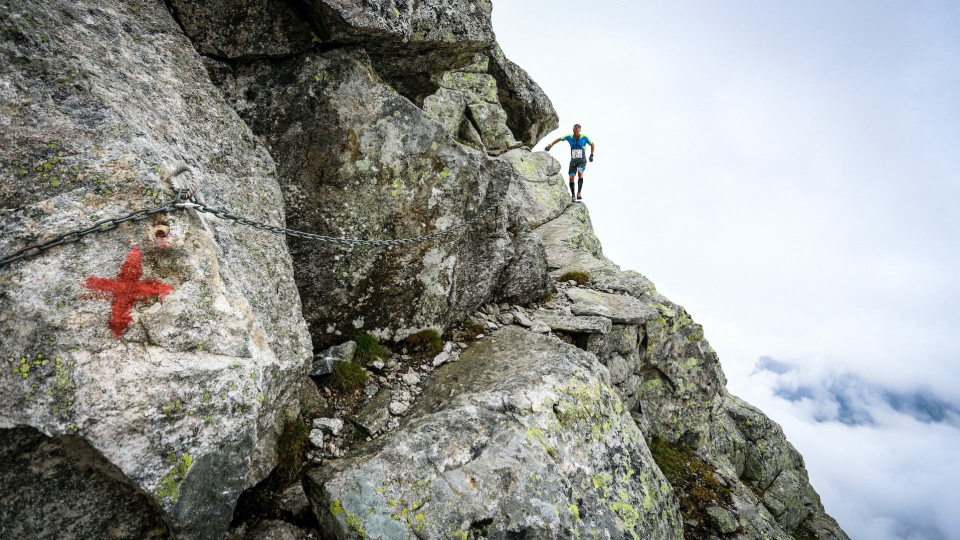 A contestant on the via ferrata at Trofeo Kima