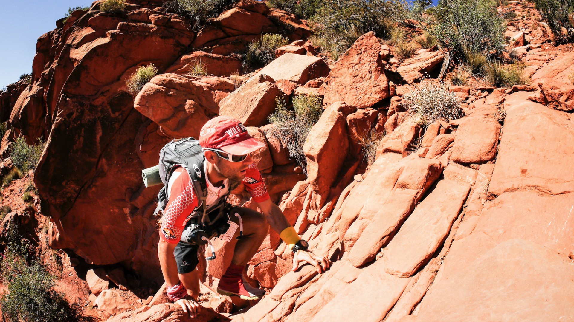 Climbing sandstone on the Grand to Grand run