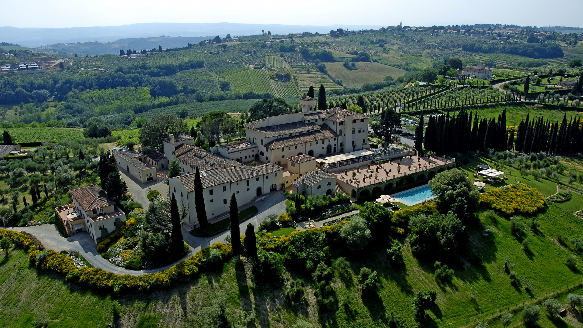 Aerial view of the Castello del Nero hotel
