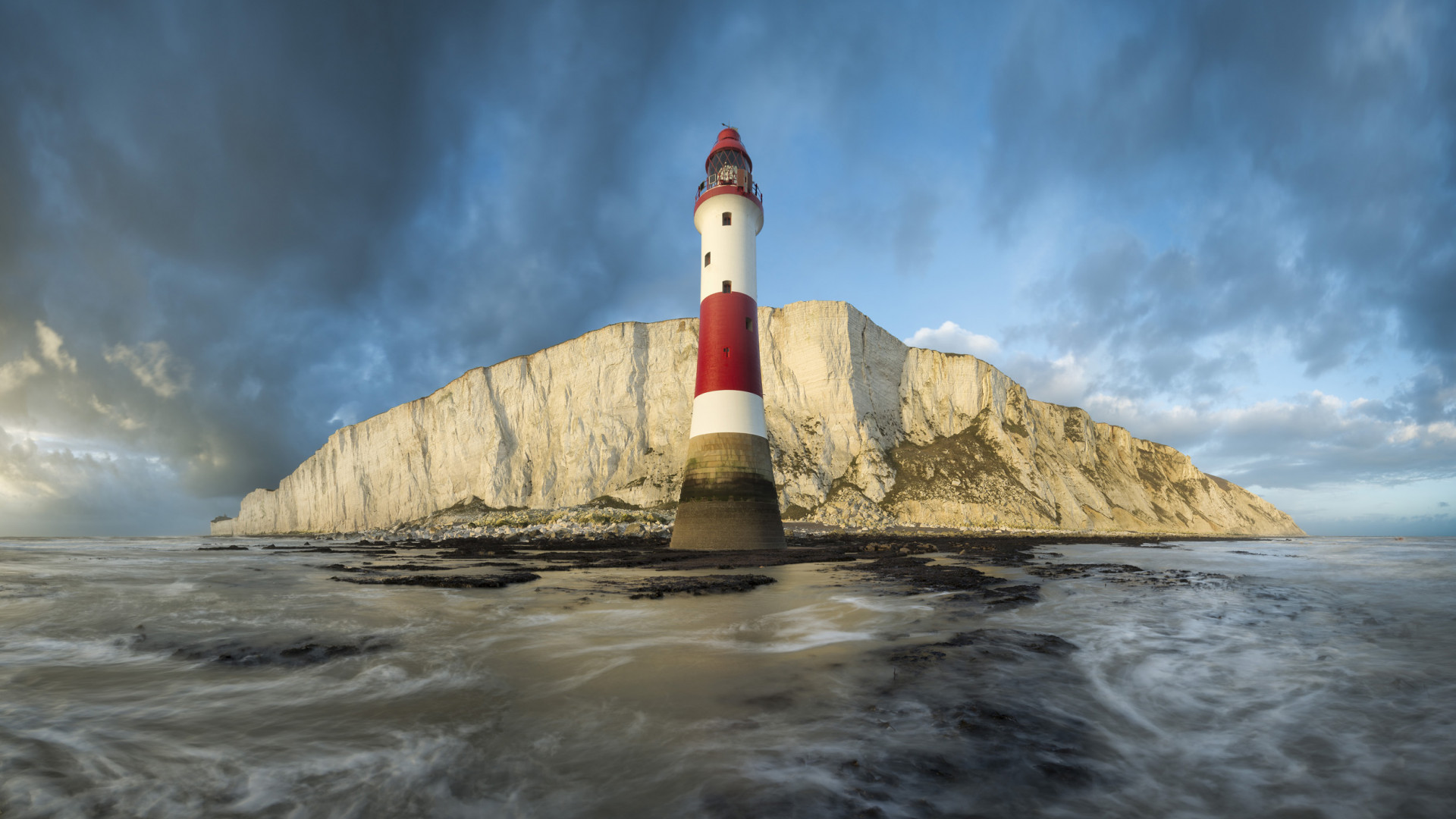Shot of Beachy Head lighthouse from the sea near Eastbourne
