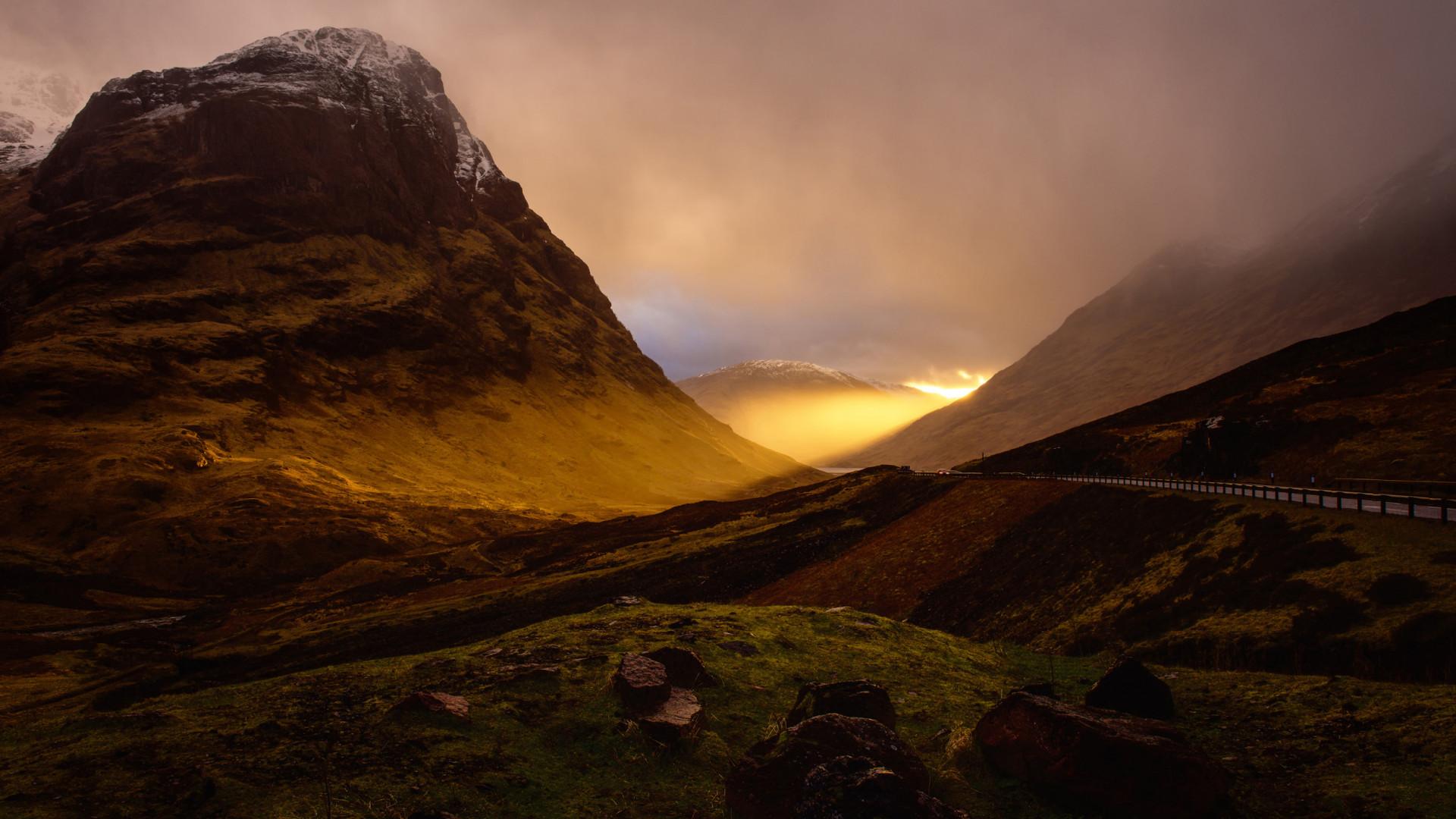 Glowing sunset near Glencoe, Scotland