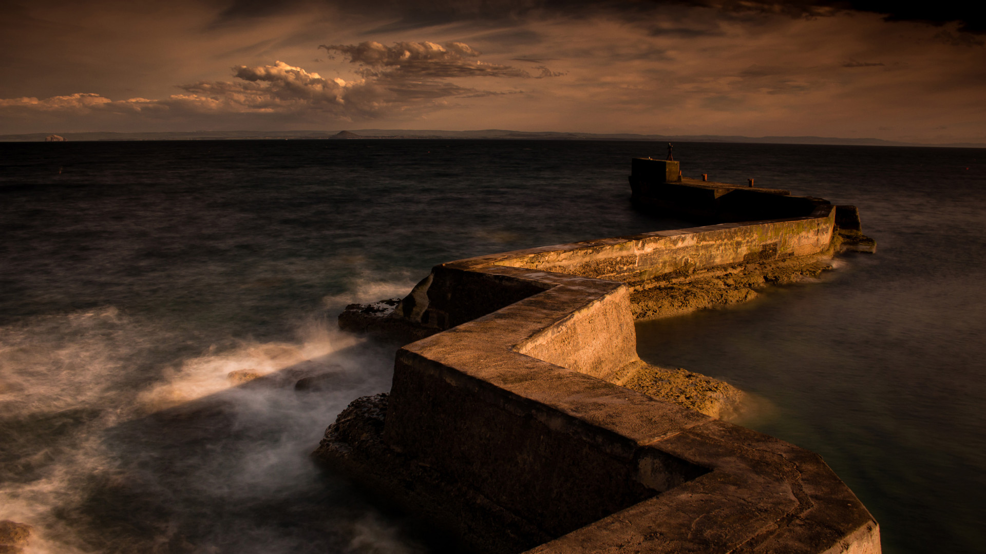 Late evening sun at St Monans Breakwater, Fife
