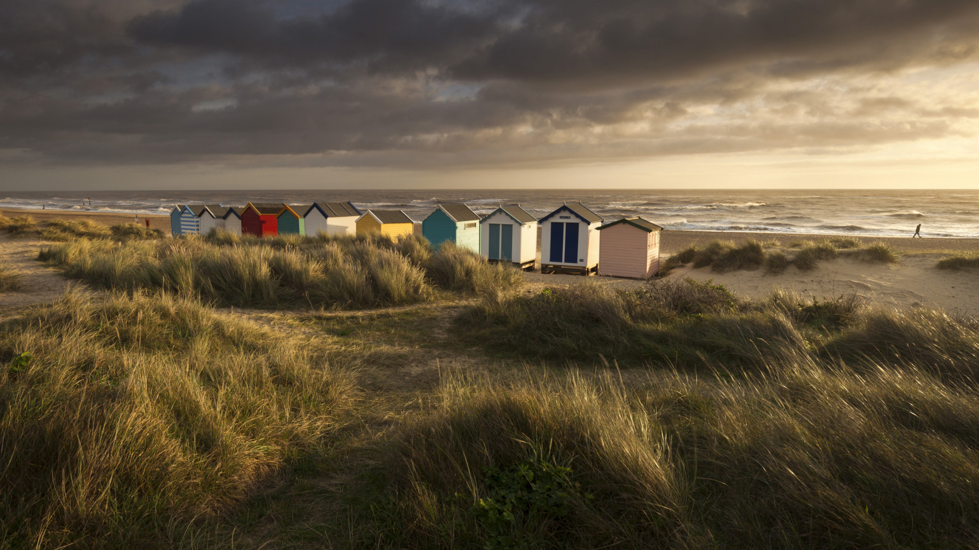Colourful beach huts on the seafront at Southwold
