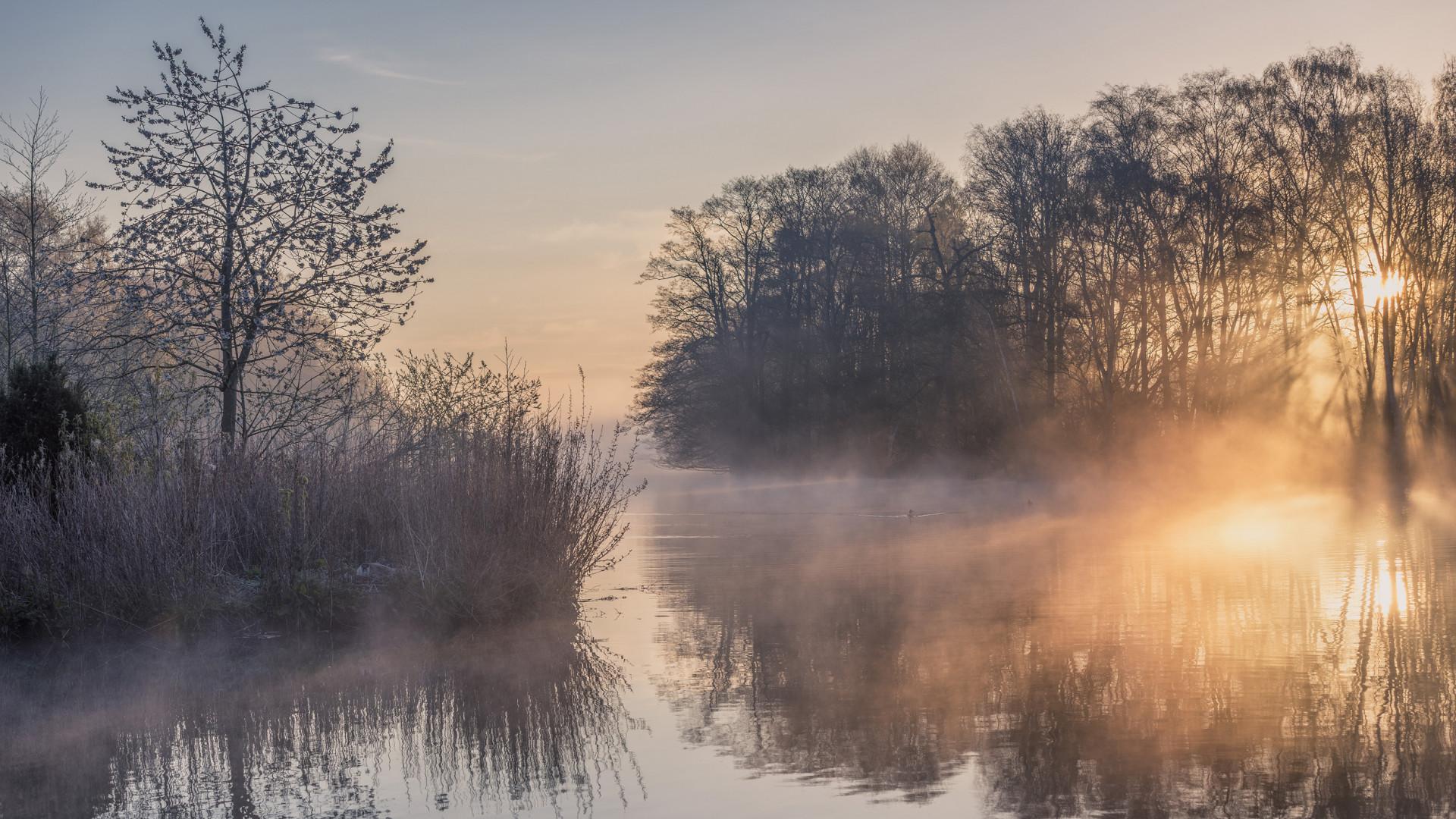 Mist Rising on Clumber Lake, Nottinghamshire