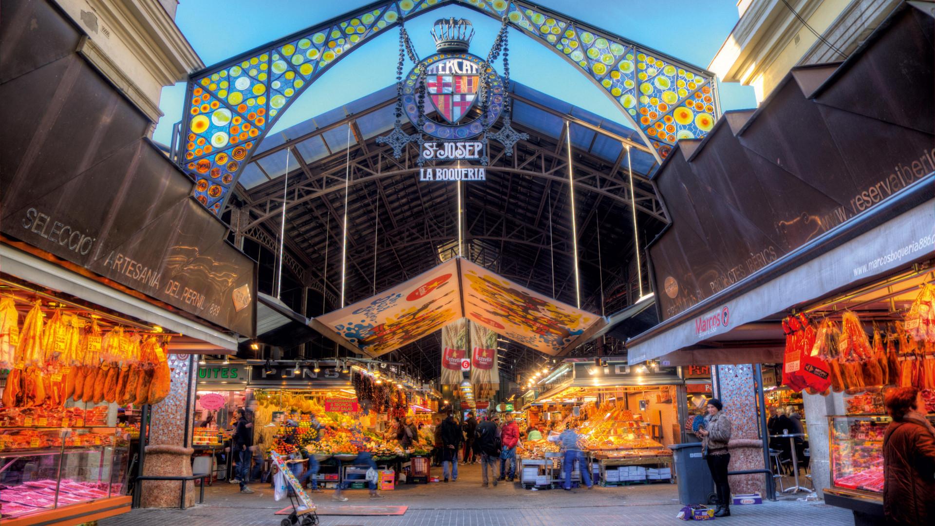 La Boqueria covered food market in Barcelona