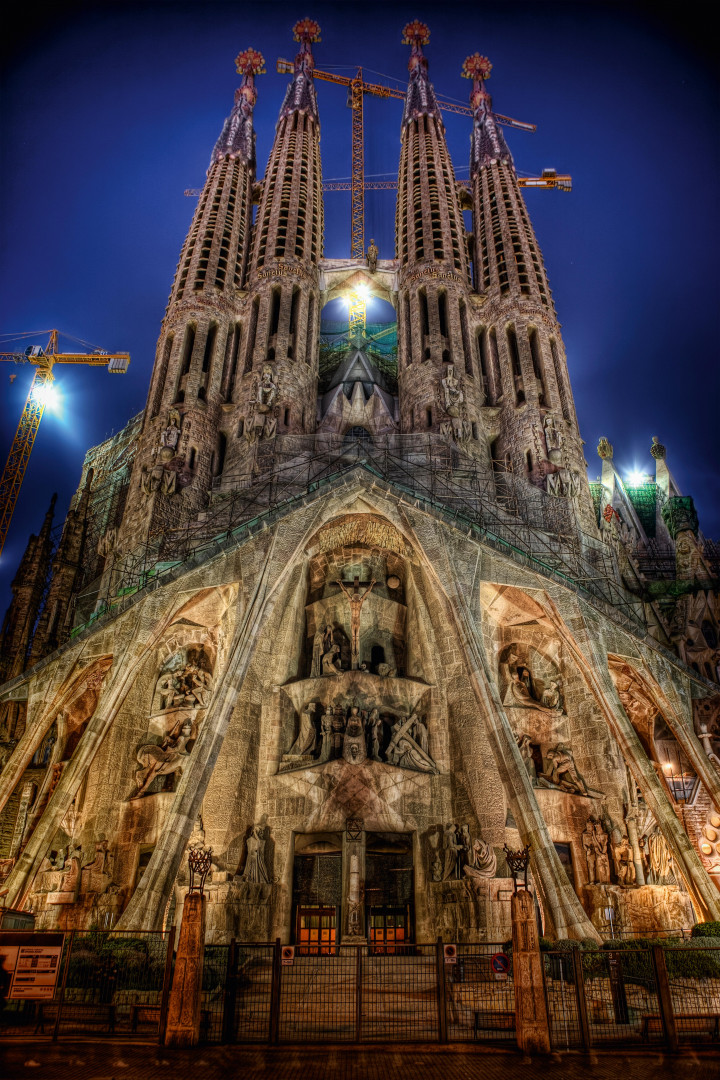 Exetrior of Gaudi's cathedral in Barcelona