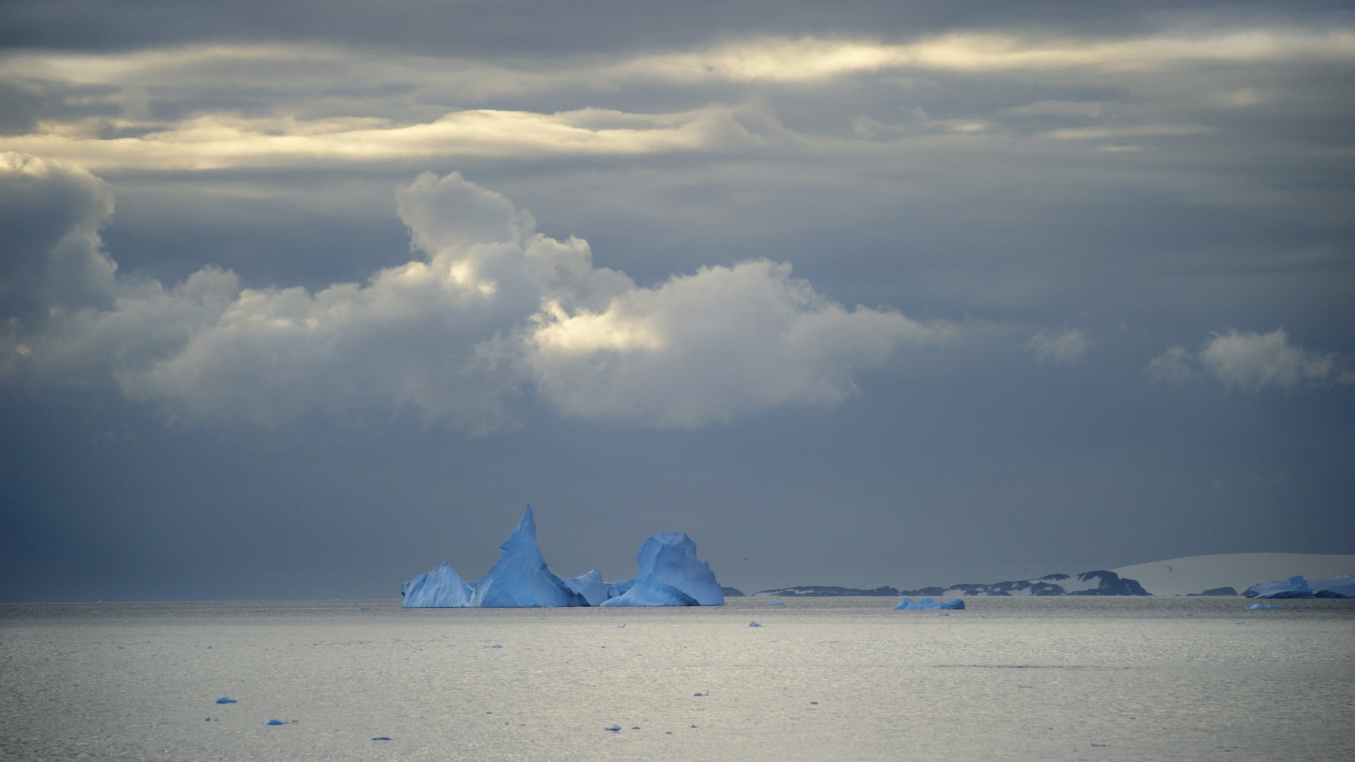 Triangular blue iceberg in Antarctica