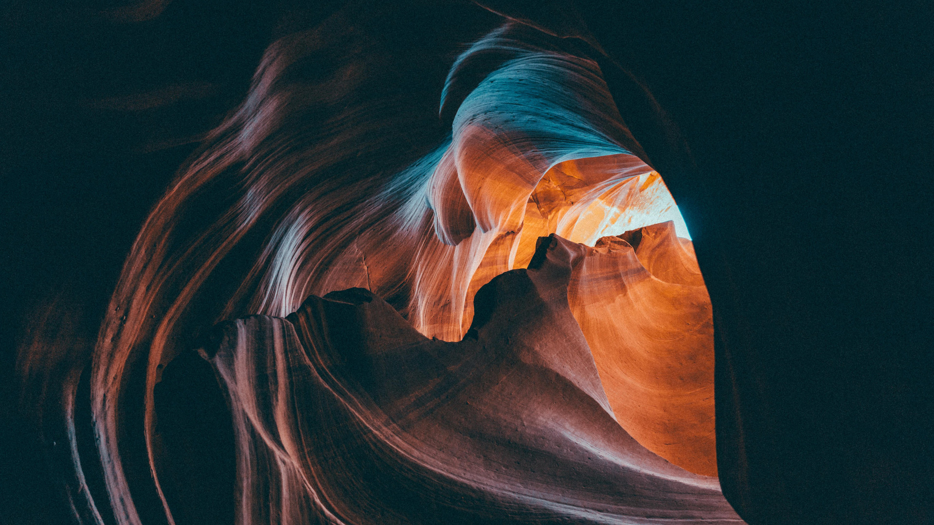 Sandstone curves in a slot canyon in the American southwest