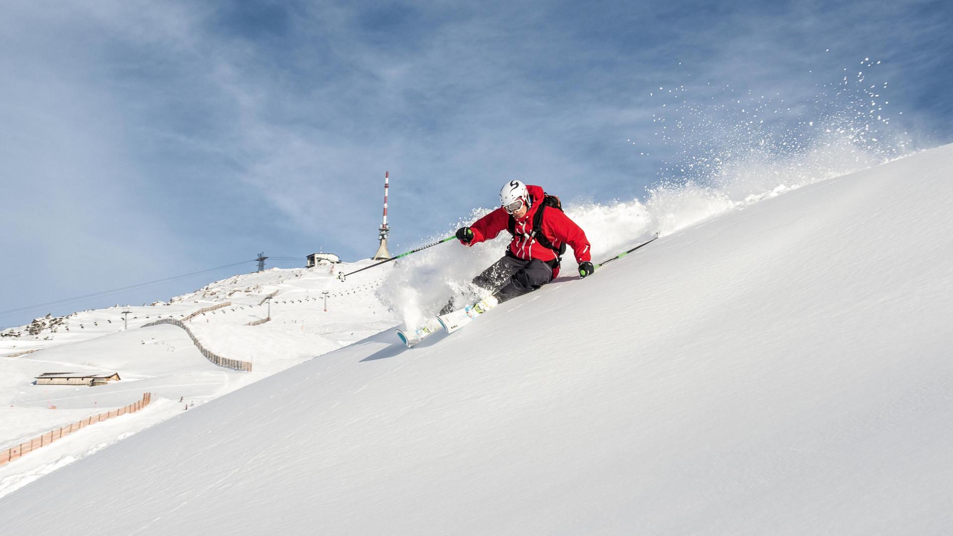 Skiier on the slopes at Kitzbühel