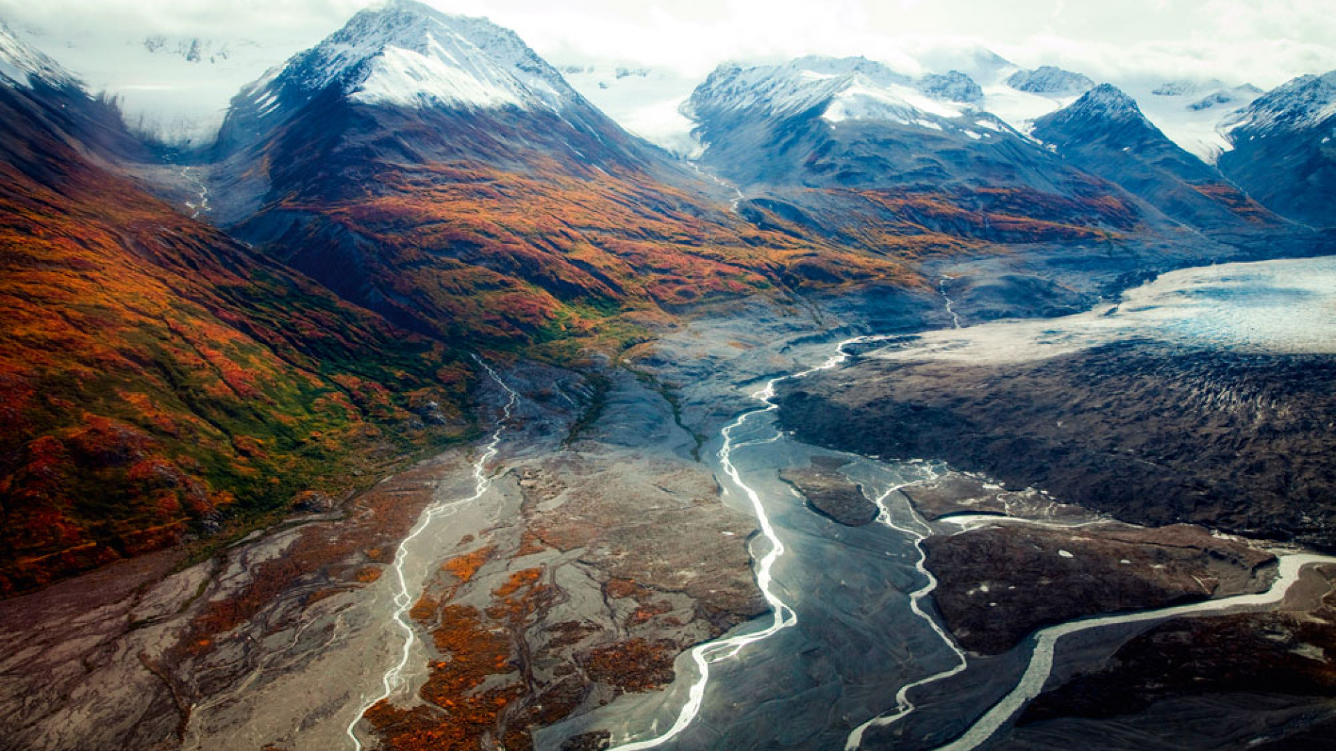 Aerial view Canada Kluane National Park mountain