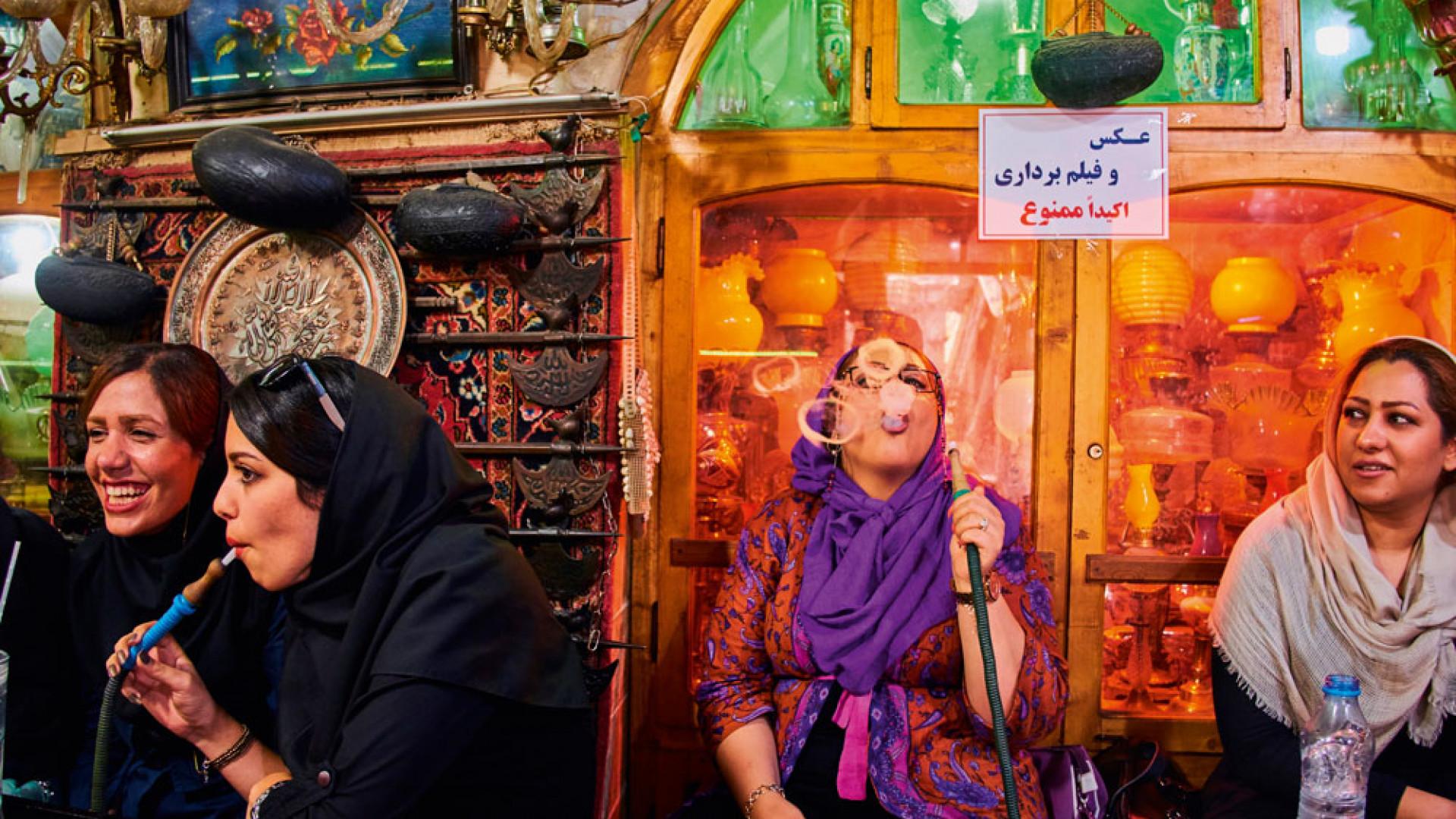 Shisha smokers in Isfahan, Iran