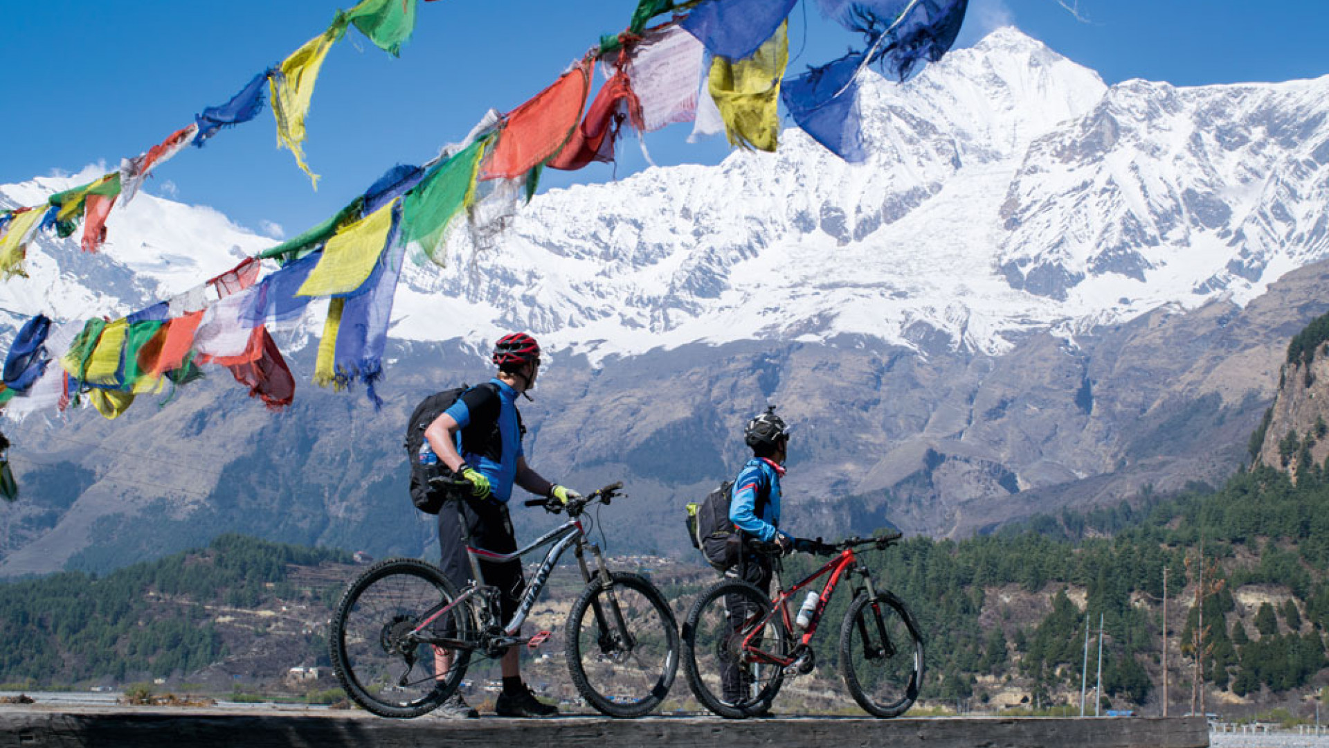 Mountain biking at the foot of the Himalayas in Nepal