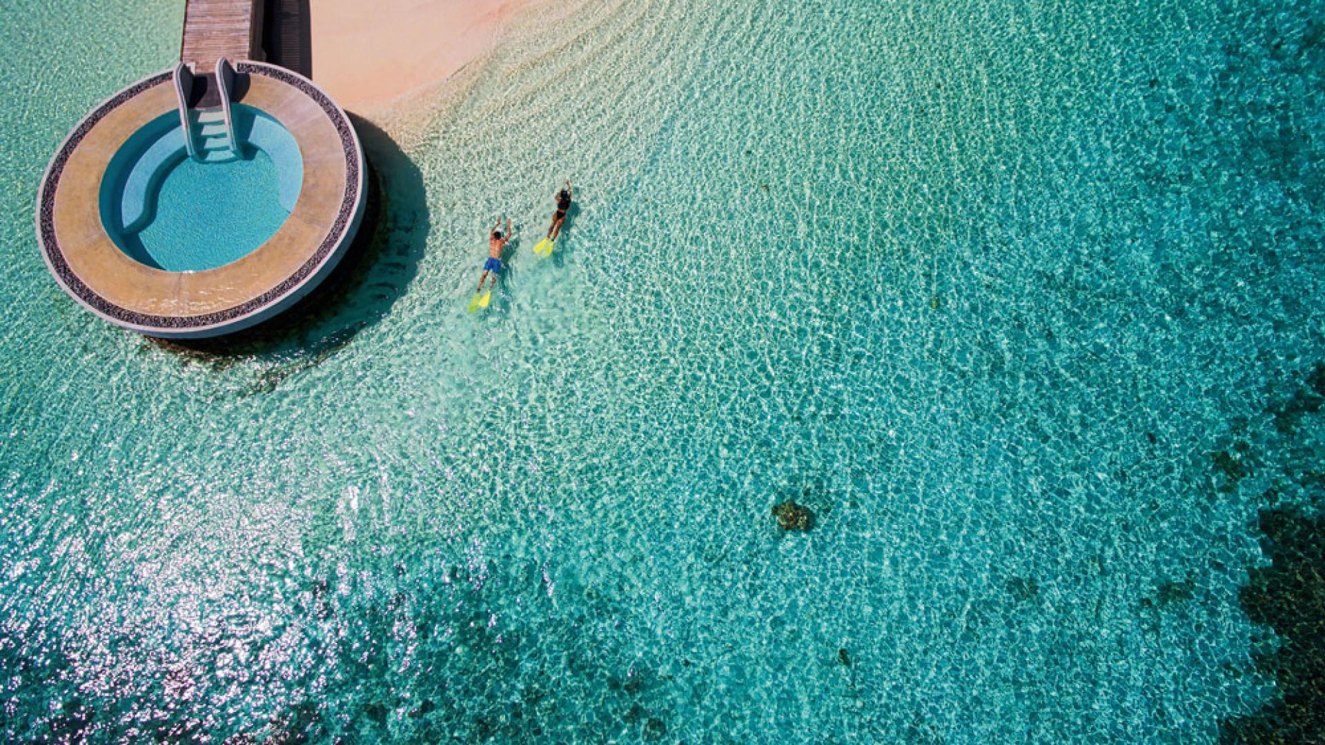 Aerial view of Per Aquum Huvafen Fushi Resort, Maldives