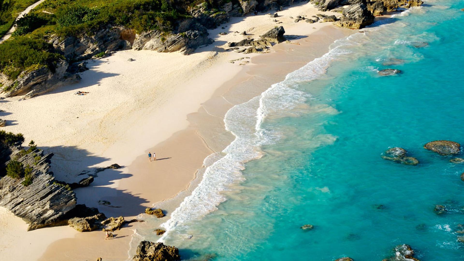 Aerial view of a beach in Bermuda