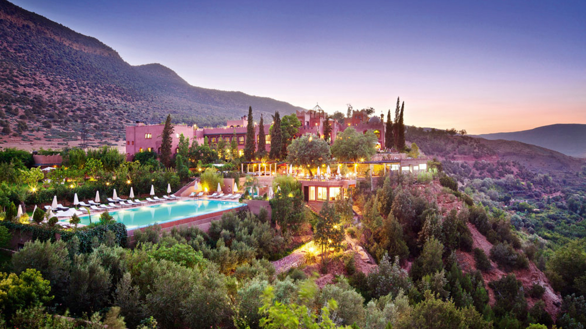 Exterior of Kasbah Tamadot in the Moroccan Atlas Mountains