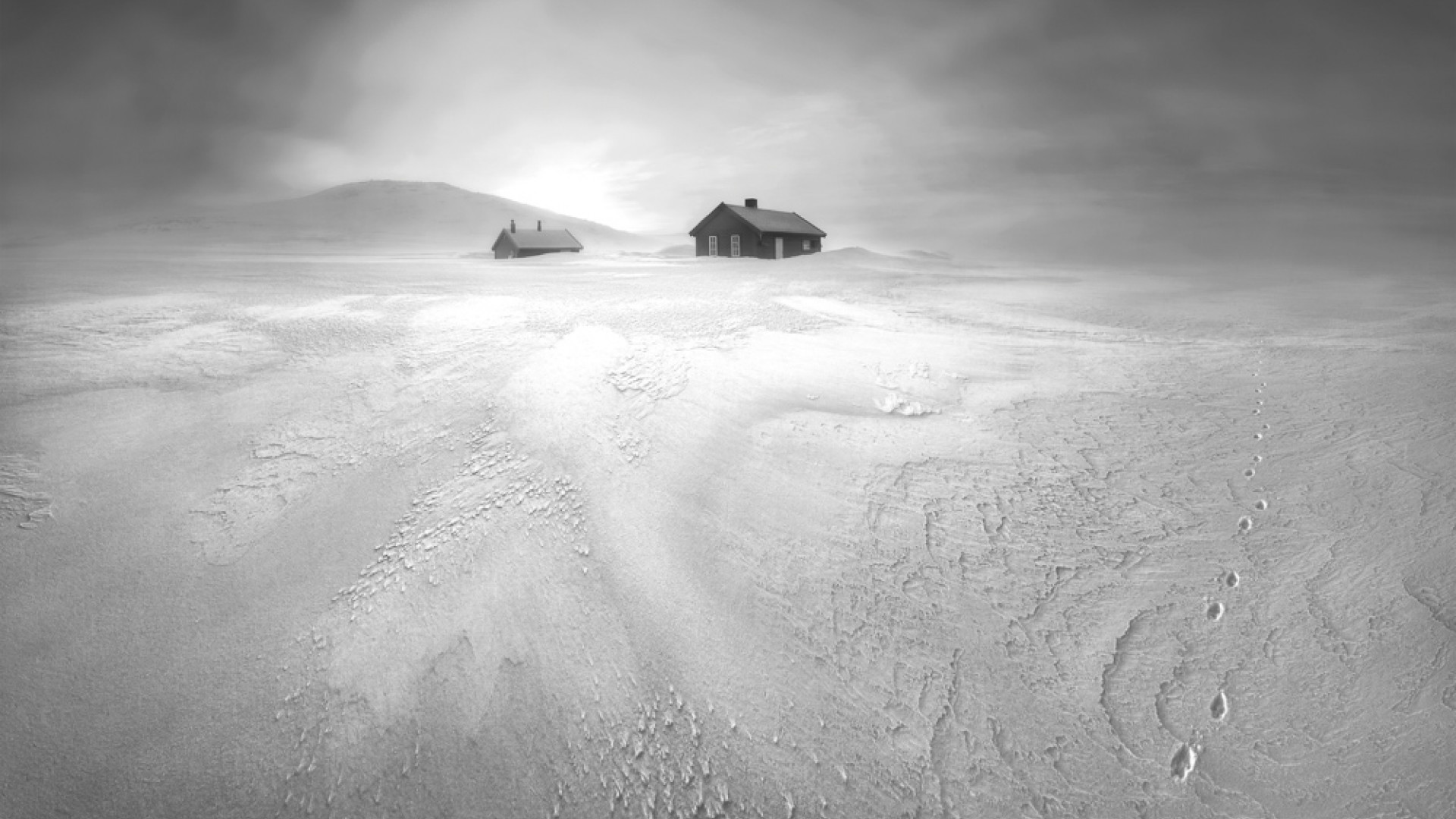 Hunters cabins in the wilderness of Hardangeryidda National Park, northern Norway