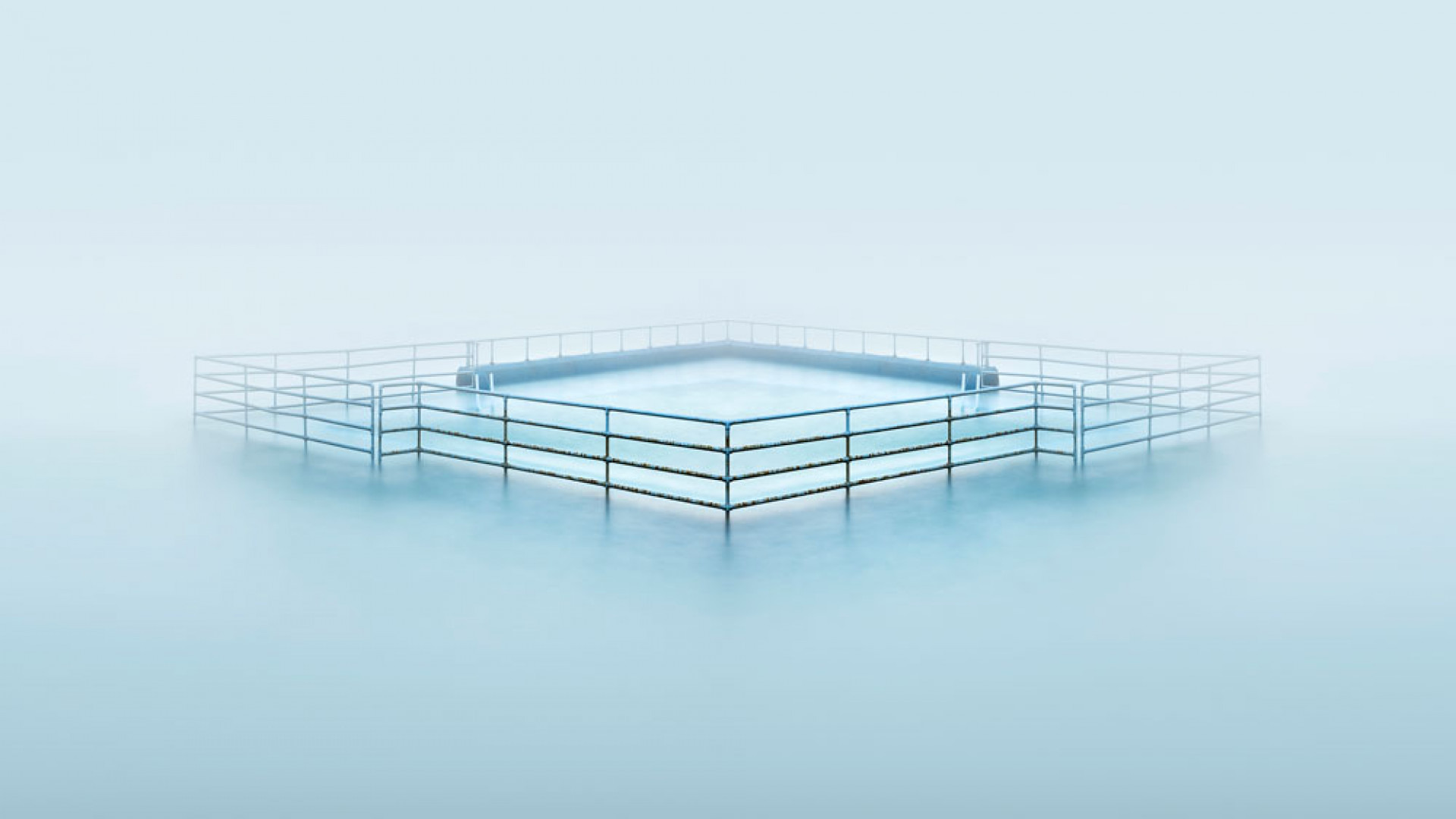 View of Shoalstone seawater pool in Devon in the morning fog