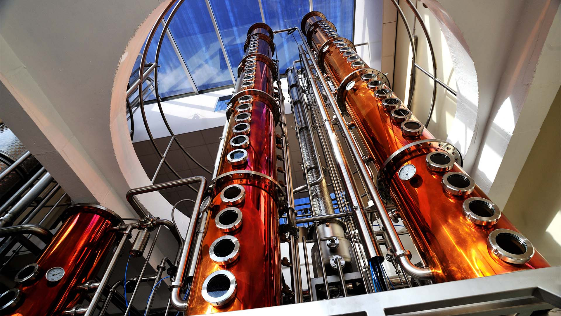 Copper stills at Adnams distillery, Southwold