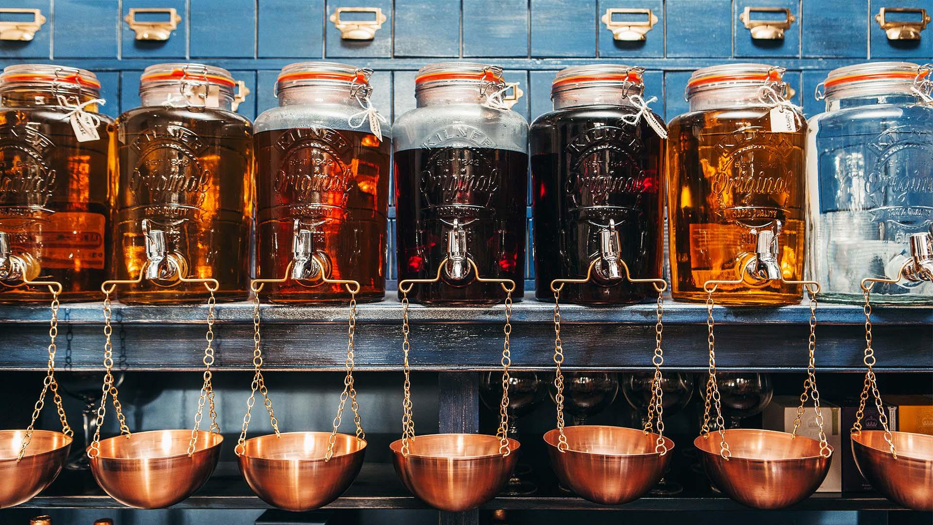 Gin infusions in kilner jars, Slingsby, Harrogate