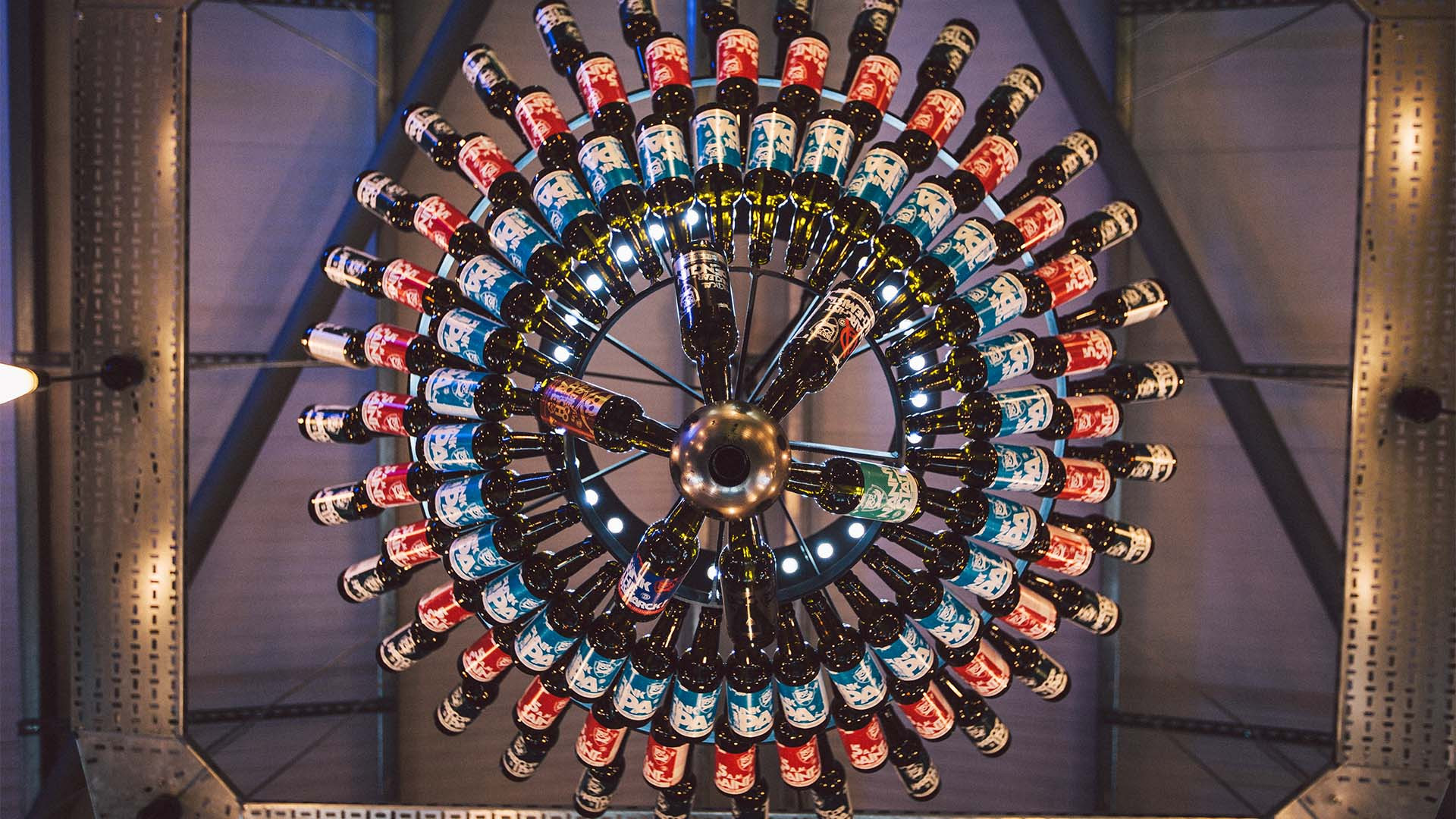 Beer chandelier at BrewDog brewery, Aberdeenshire, Scotland