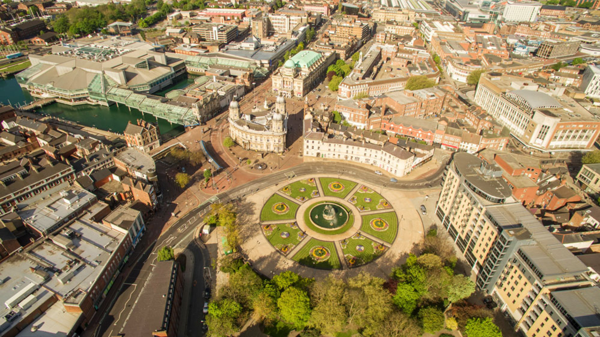Queen Victoria square and Hull Marina from above