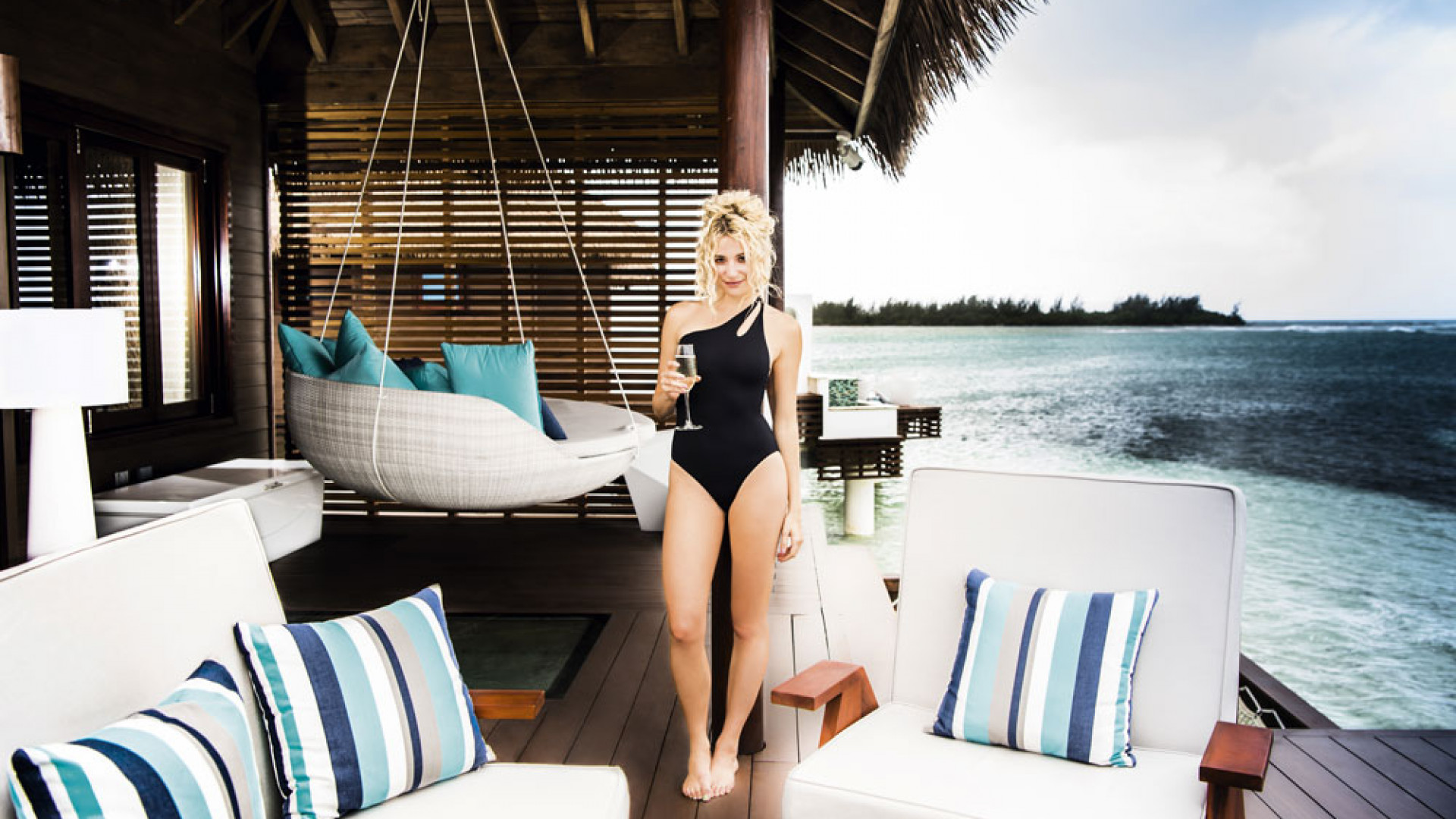 Pixie Lott at Sandals Overwater Villas in Jamaica