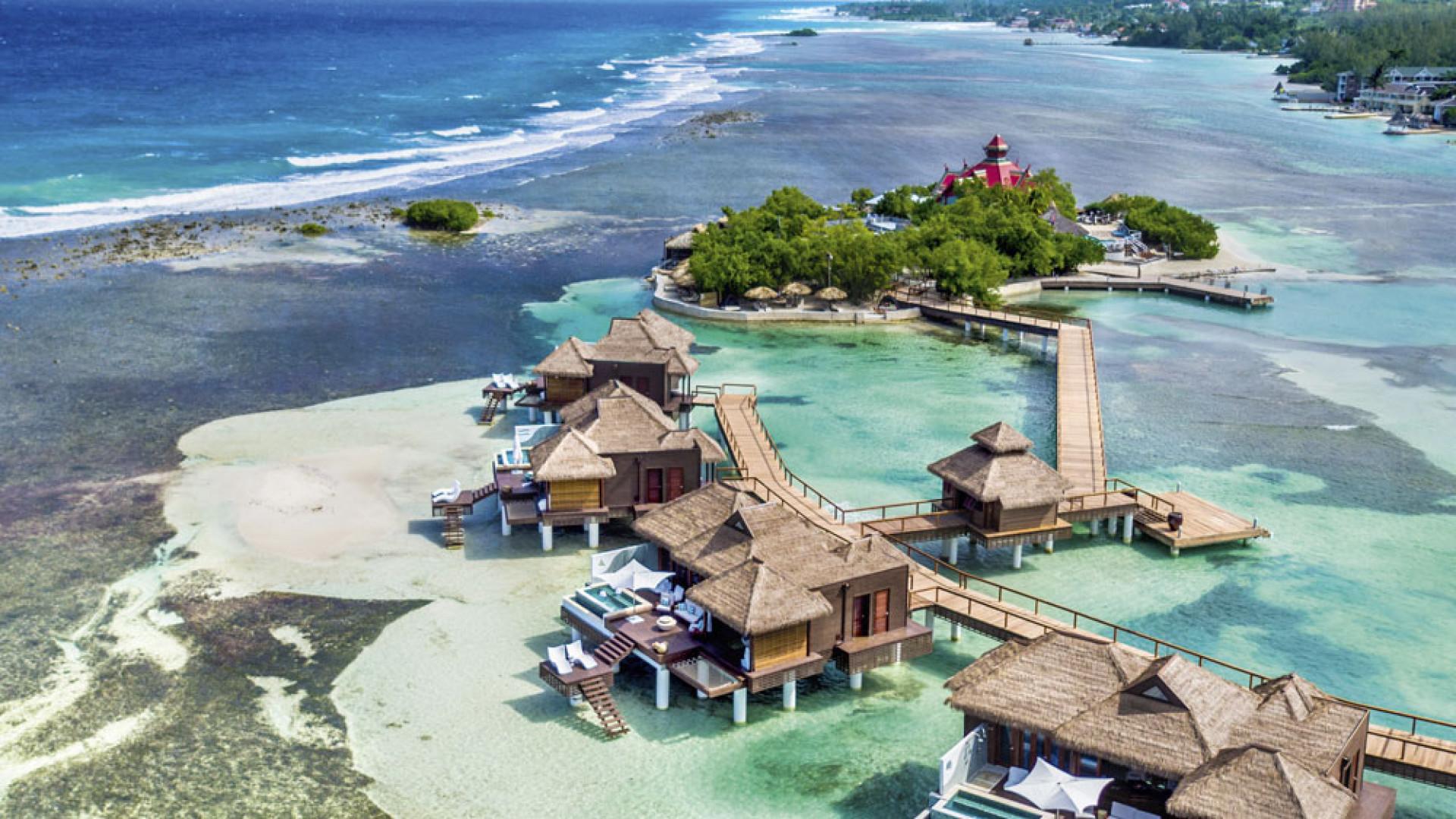 Sandals over-the-water villas at Royal Caribbean Resort, Jamaica