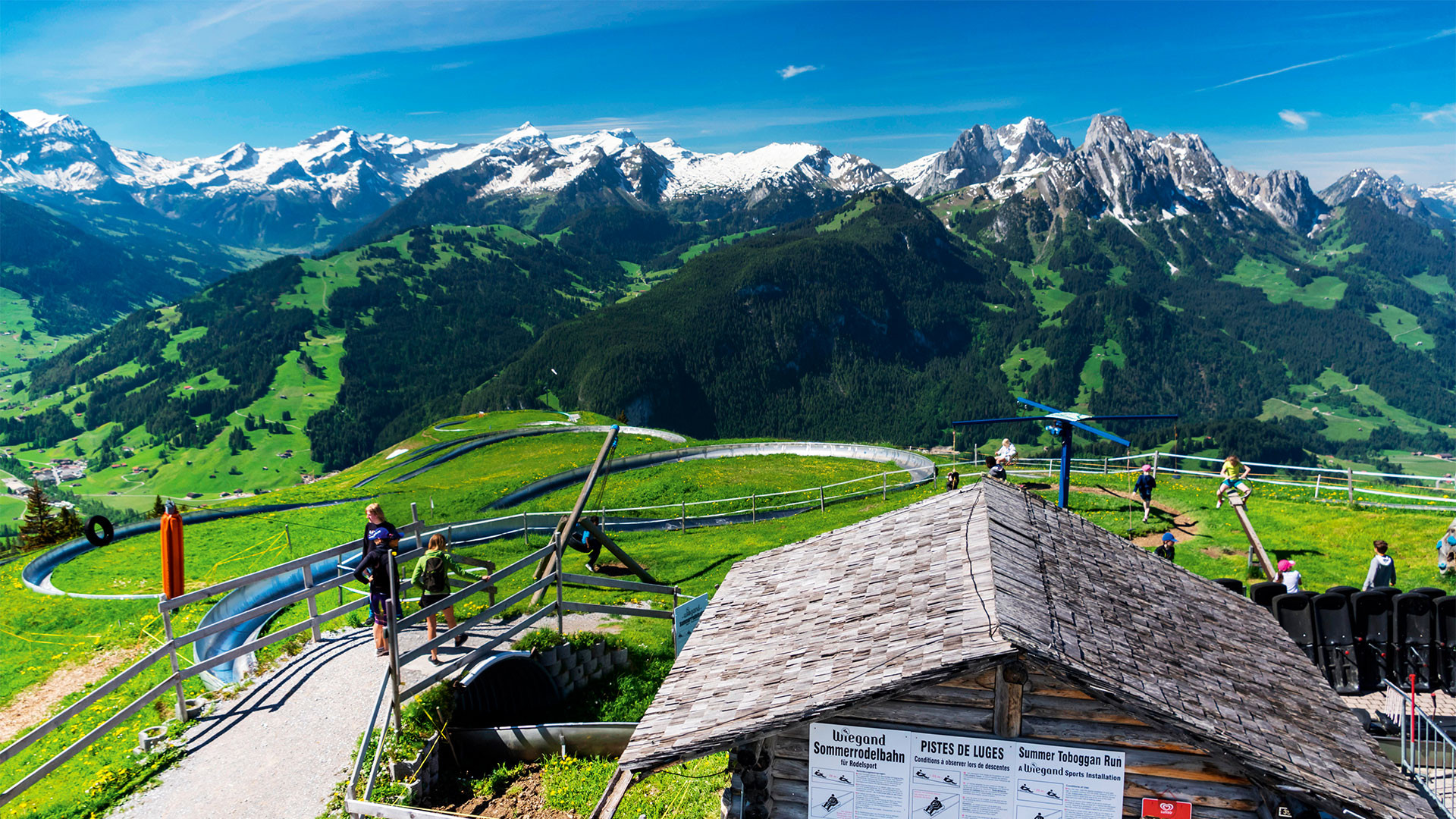 Mountain coaster run on Rellerli mountain, close to Gstaad, Switzerland