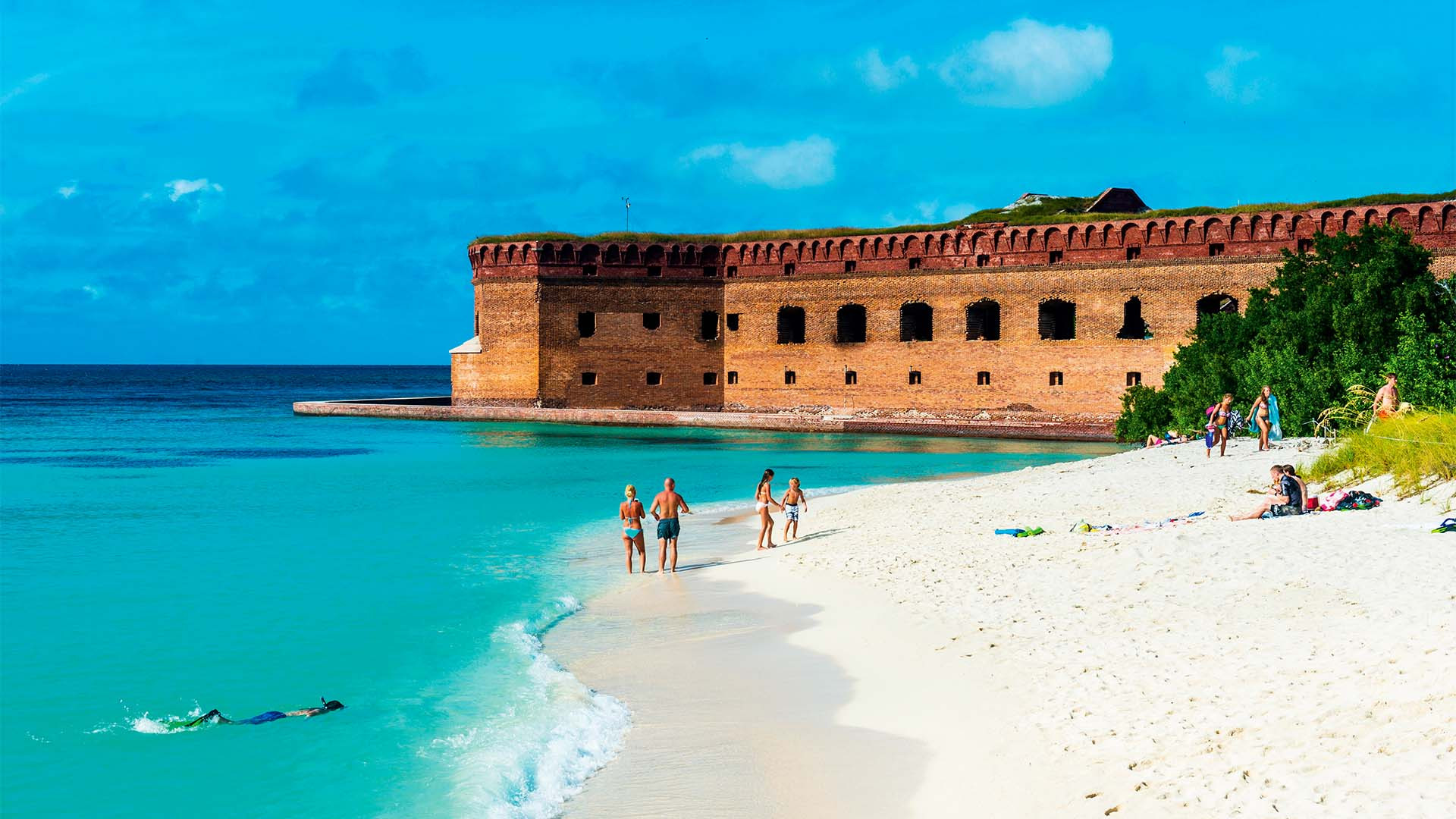 White sand beach and turquoise waters in front of Fort Jefferson, Dry Tortugas National Park, Florida, United States