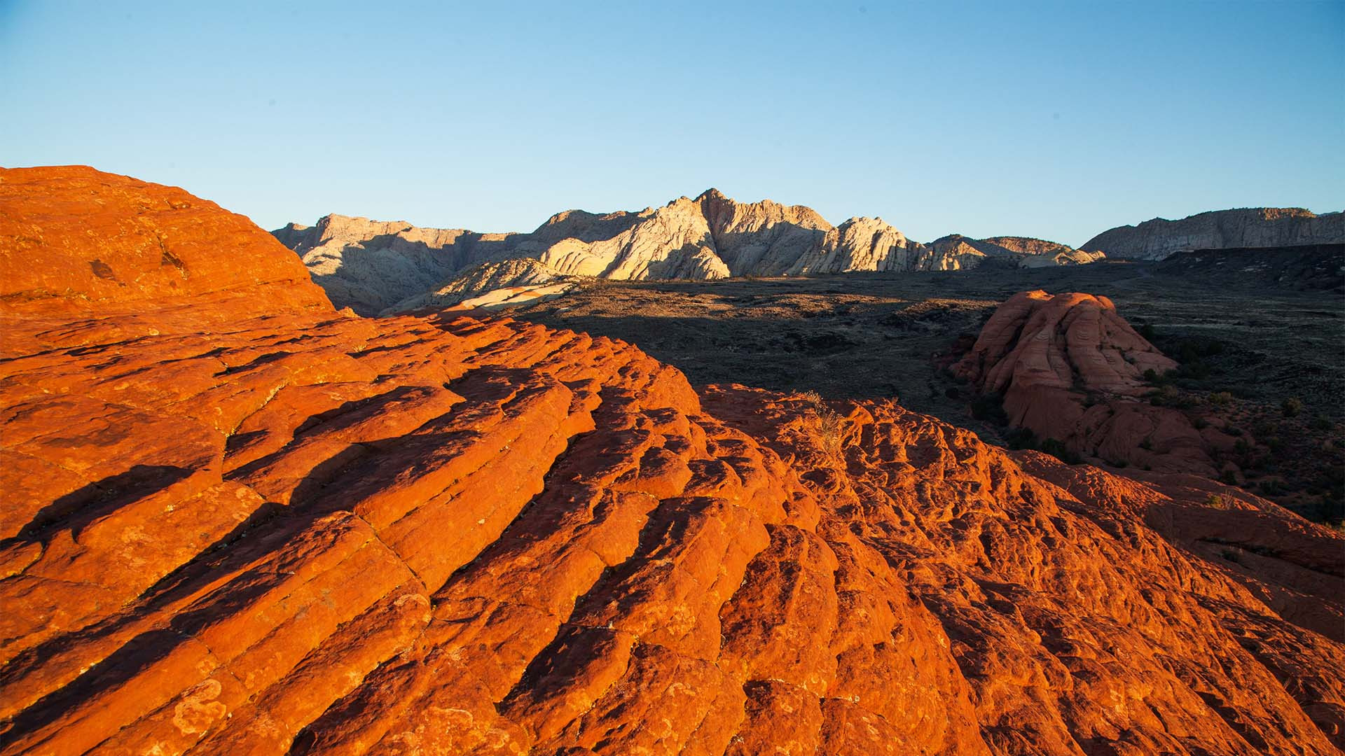 Ancient lava flows and sand dunes in Snow Canyon State Park, Utah