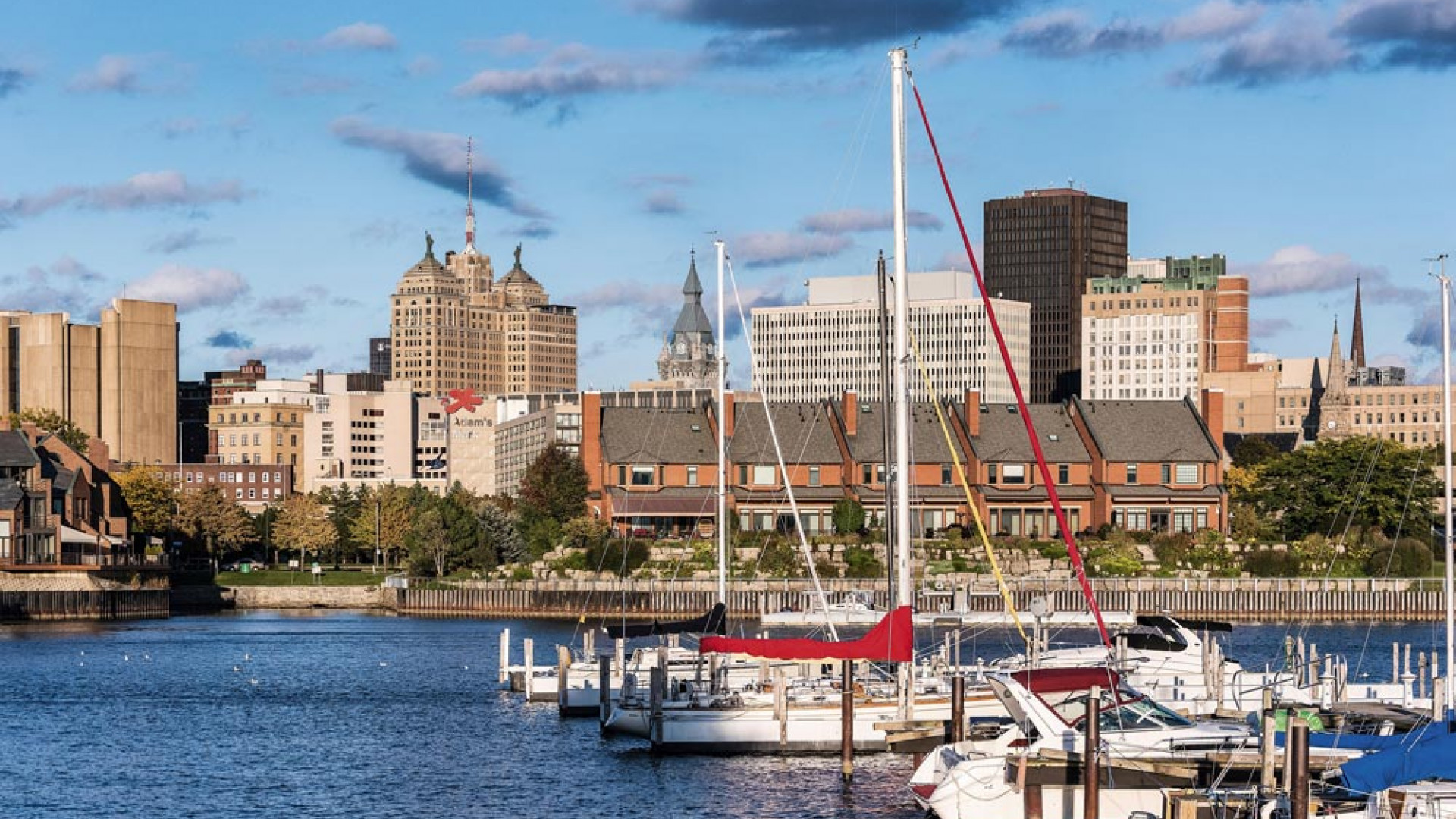Basin Marina Park and city skyline, Buffalo, New York, USA