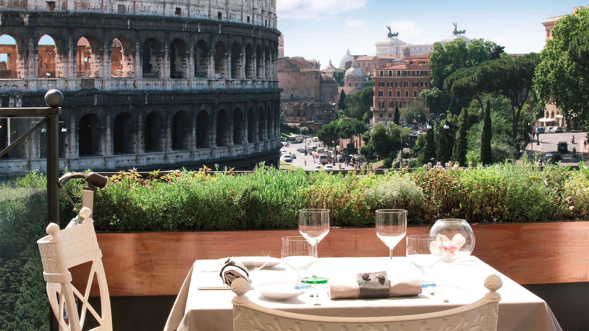 Colosseum view at Aroma restaurant, Rome
