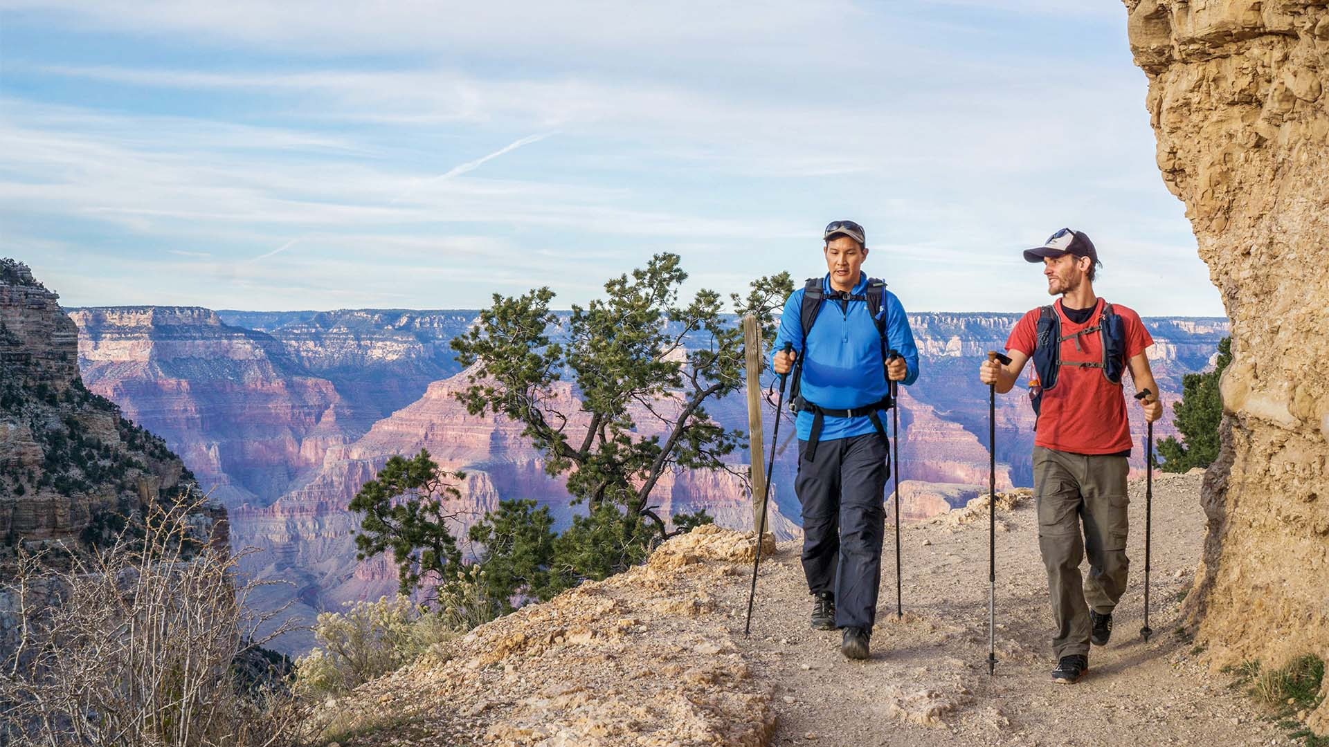 Hikers taking on the Grand Canyon's rim to rim trail