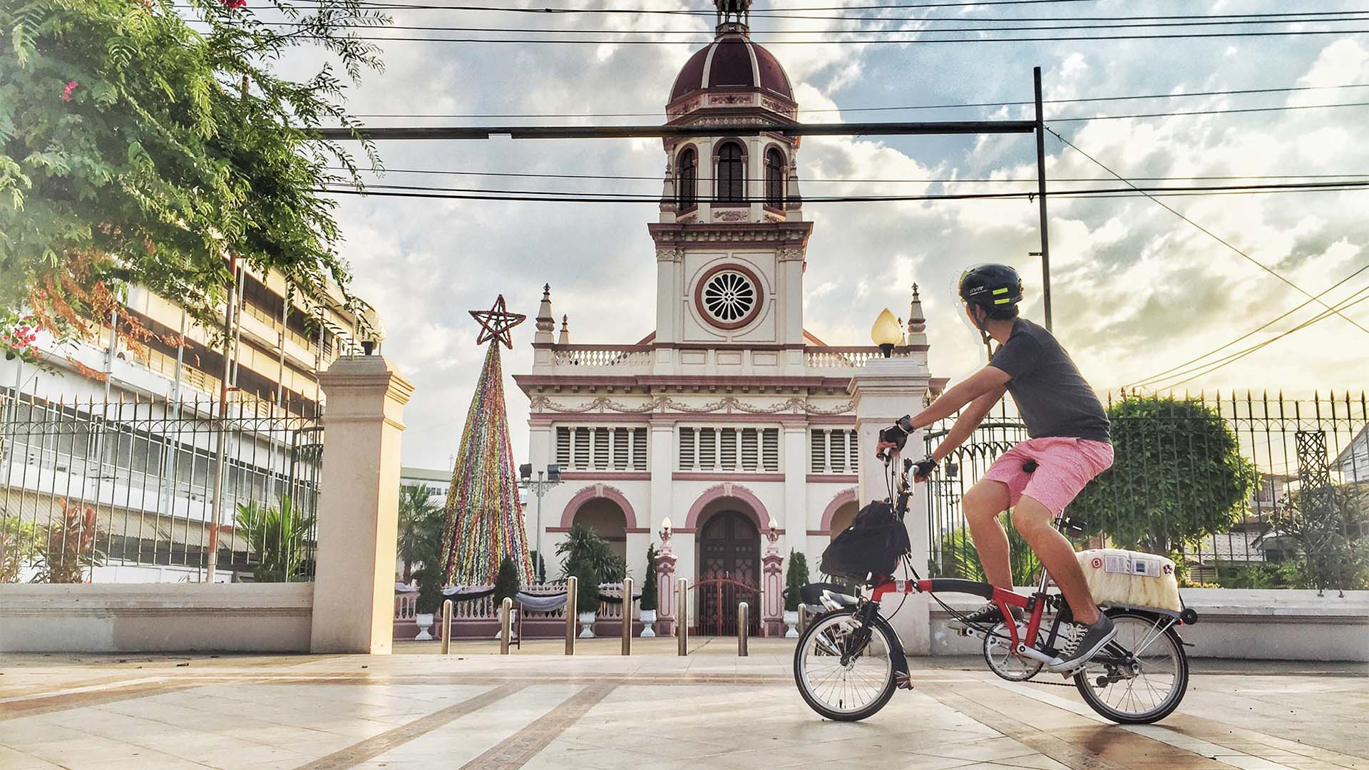 Riding a Brompton bike in Thailand