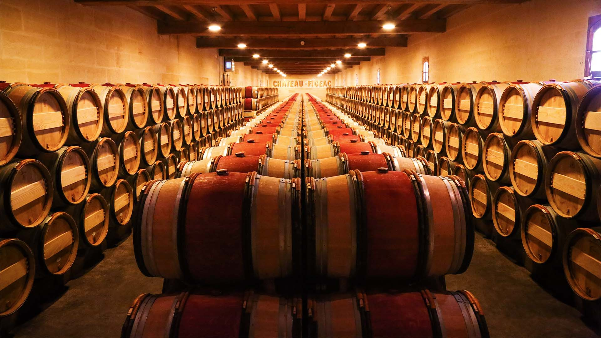 Barrels of wine at Châteua Figeac winery, St-Émilion, Bordeaux