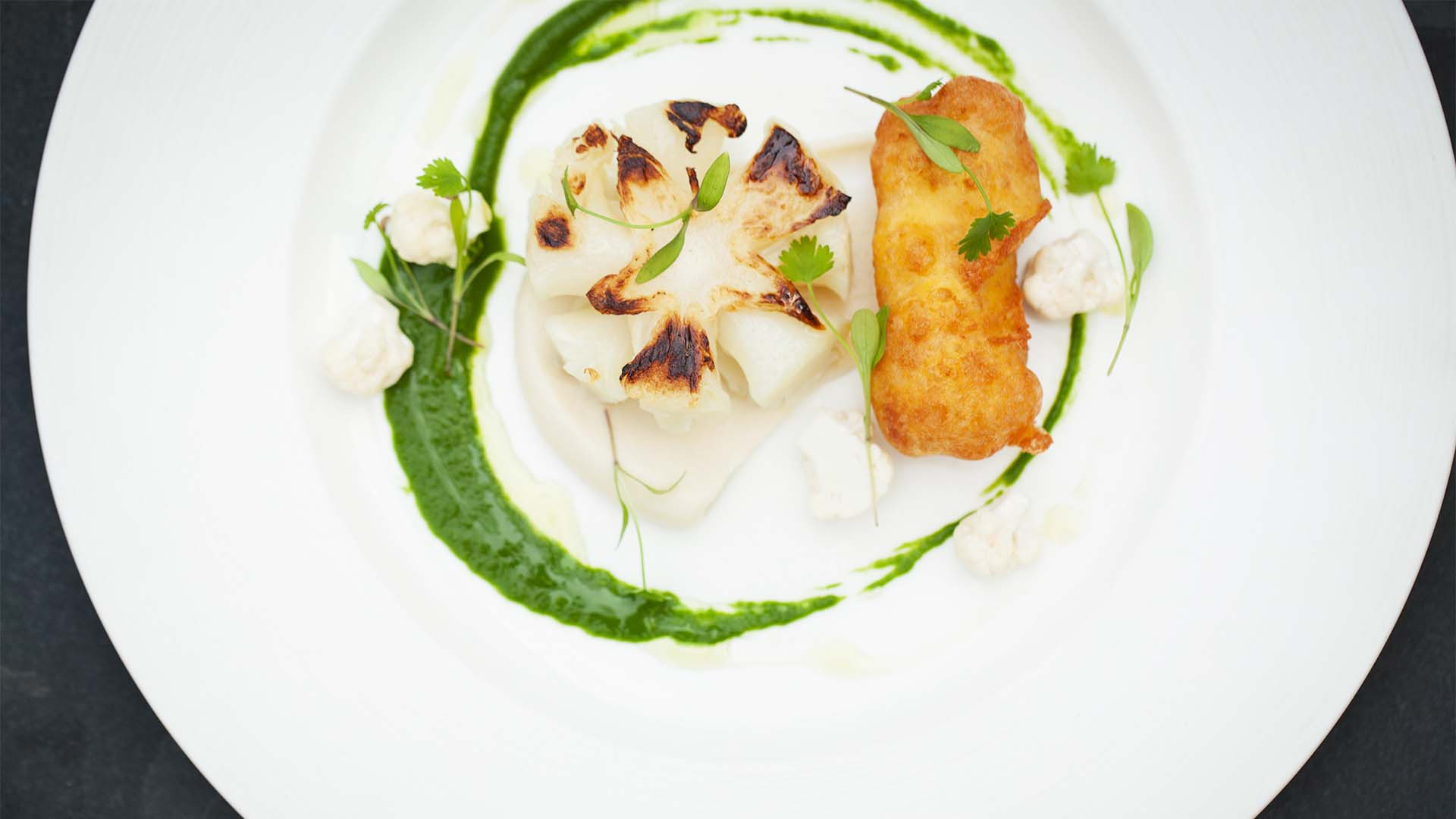 Cauliflower and croquette at Acorn Vegetarian restaurant Bath